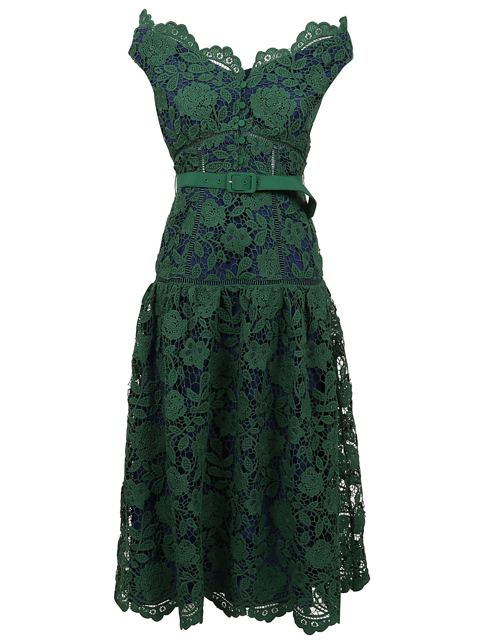 Buy self-portrait Green Flower Lace Off Shoulder Dress online, shop self-portrait with free shipping