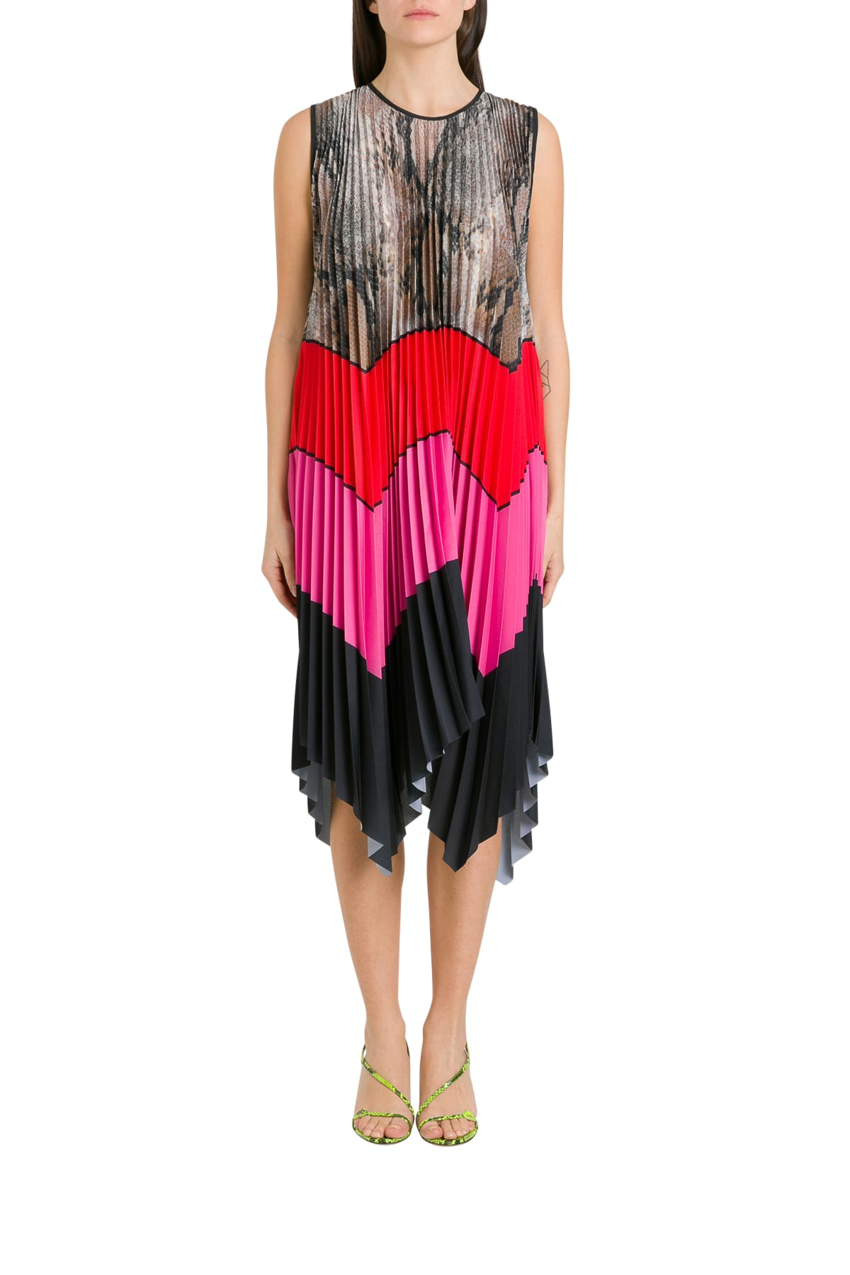Buy MSGM Color Block Pleatde Maxi Dress online, shop MSGM with free shipping