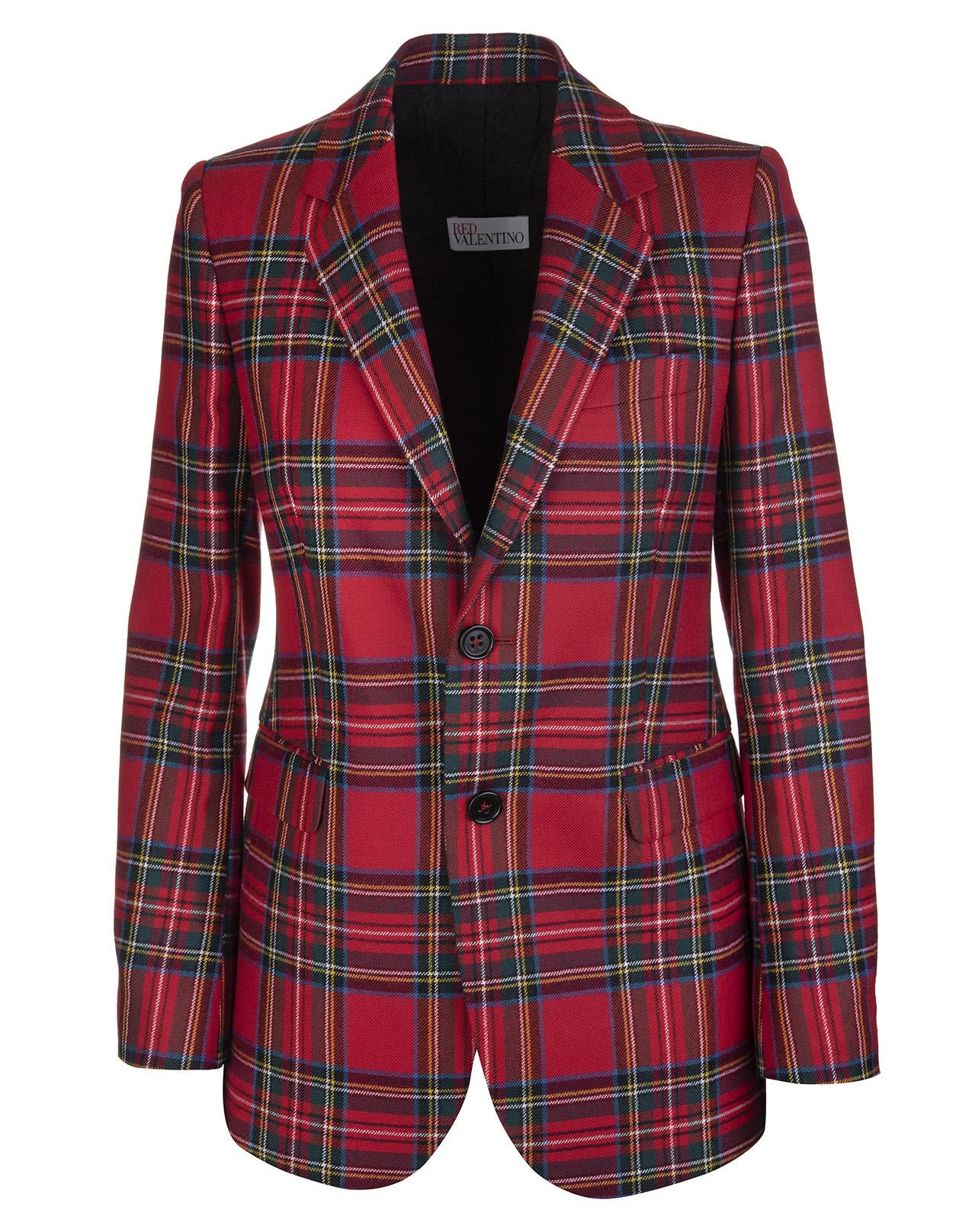 RED Valentino Red Wool Tartan Blazer