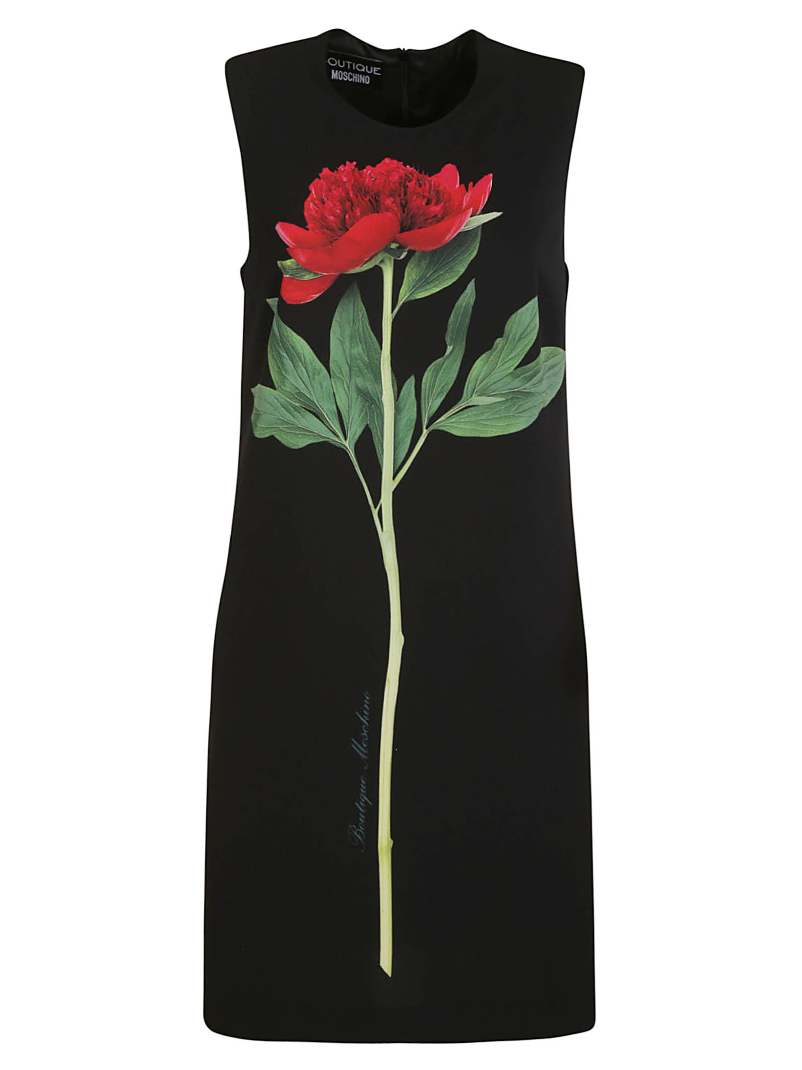 Boutique Moschino Rose Print Sleeveless Dress