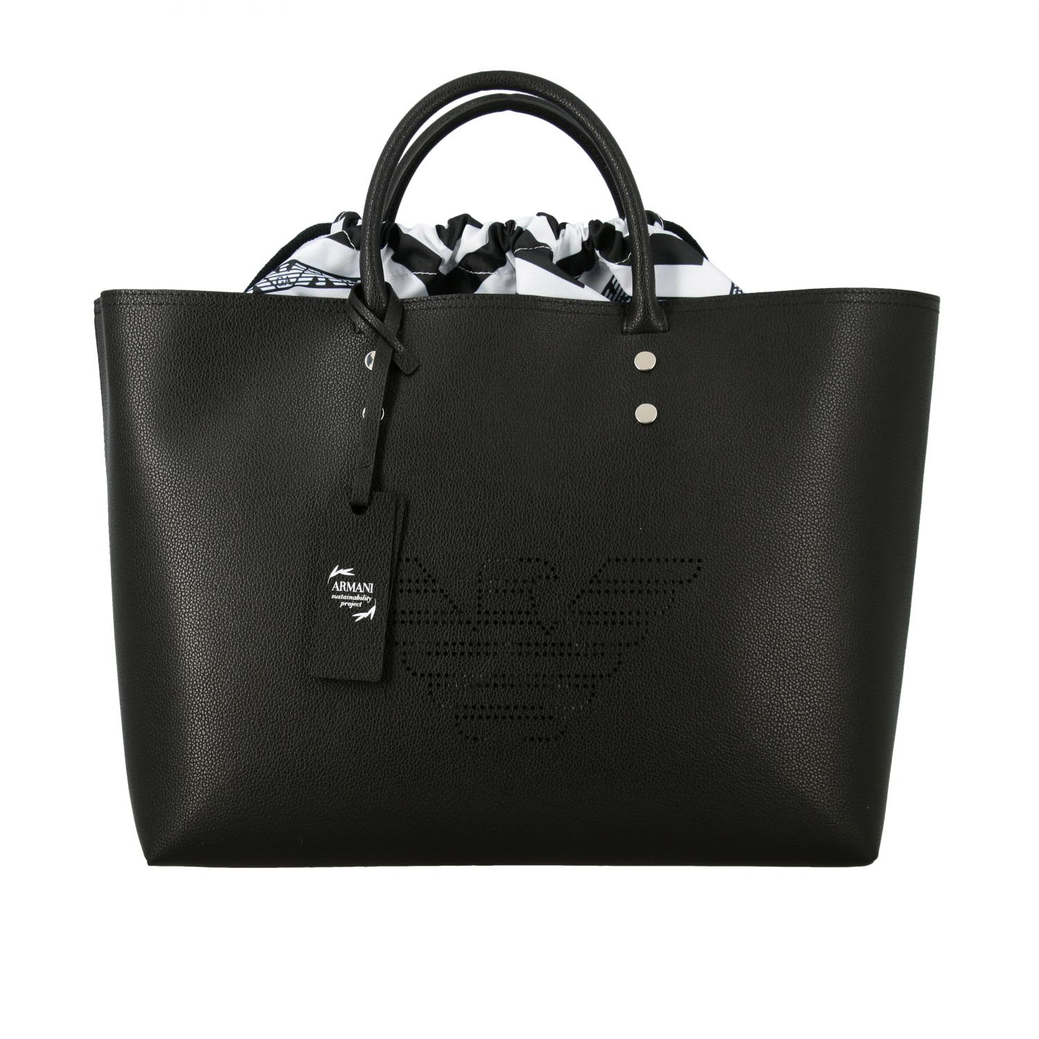Emporio Armani Shopping Bag With Perforated Logo In Black