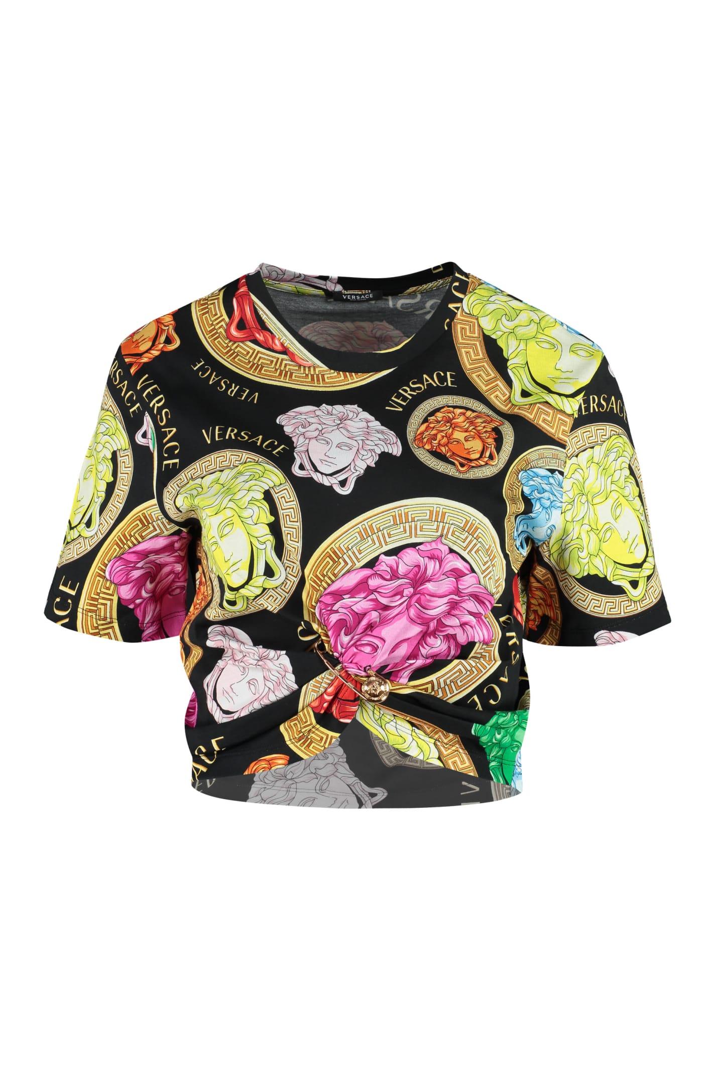 Versace T-shirts PRINTED COTTON T-SHIRT