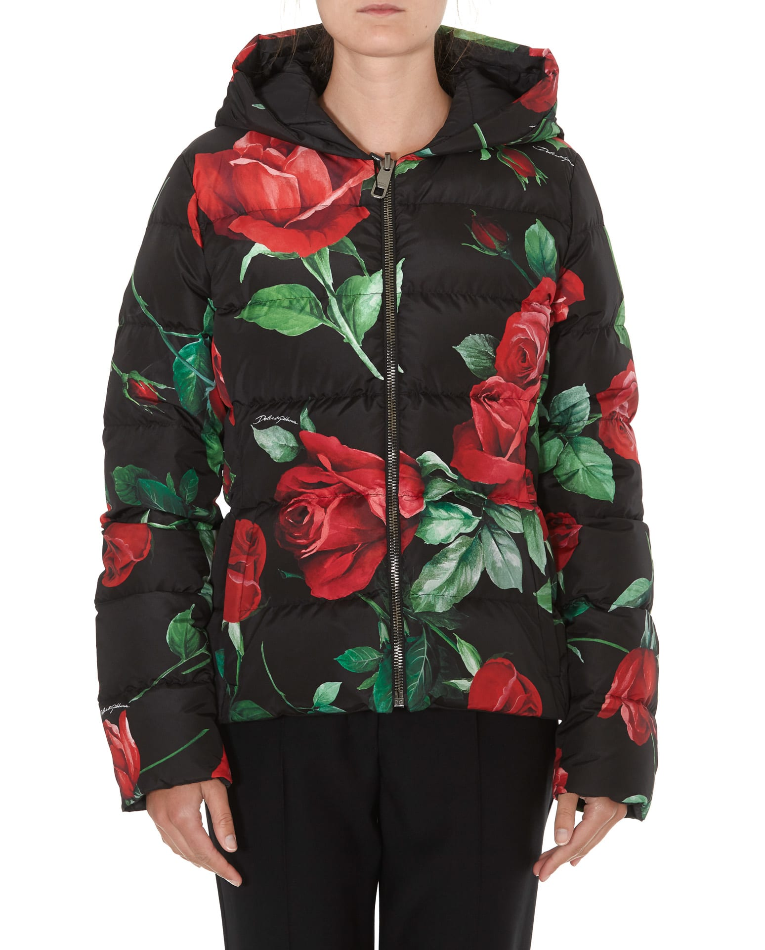 Dolce & Gabbana Roses Print Oversize Down Jacket