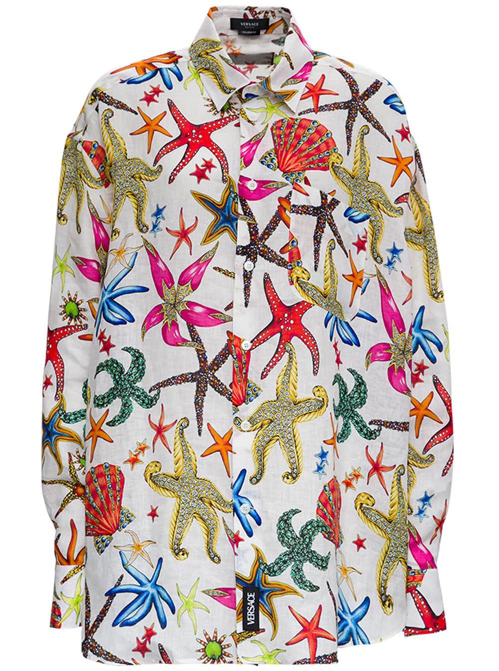 Versace Linen Oversize Shirt With Tresor De La Mer Print