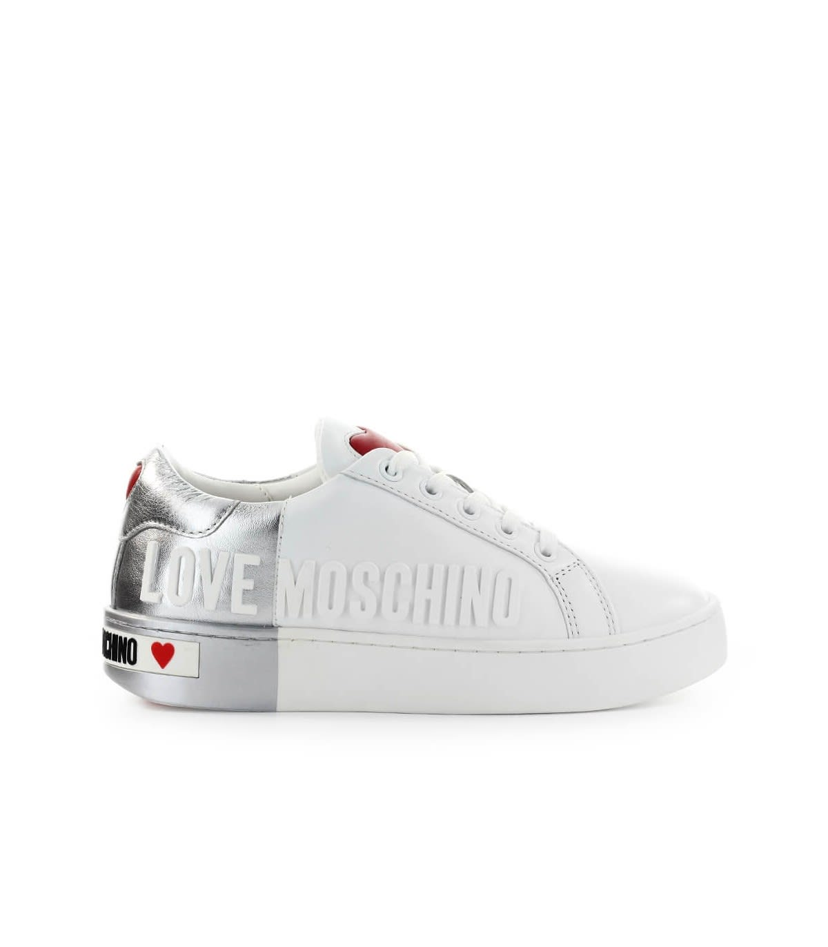 Love Moschino WHITE SILVER SNEAKER WITH LOGO