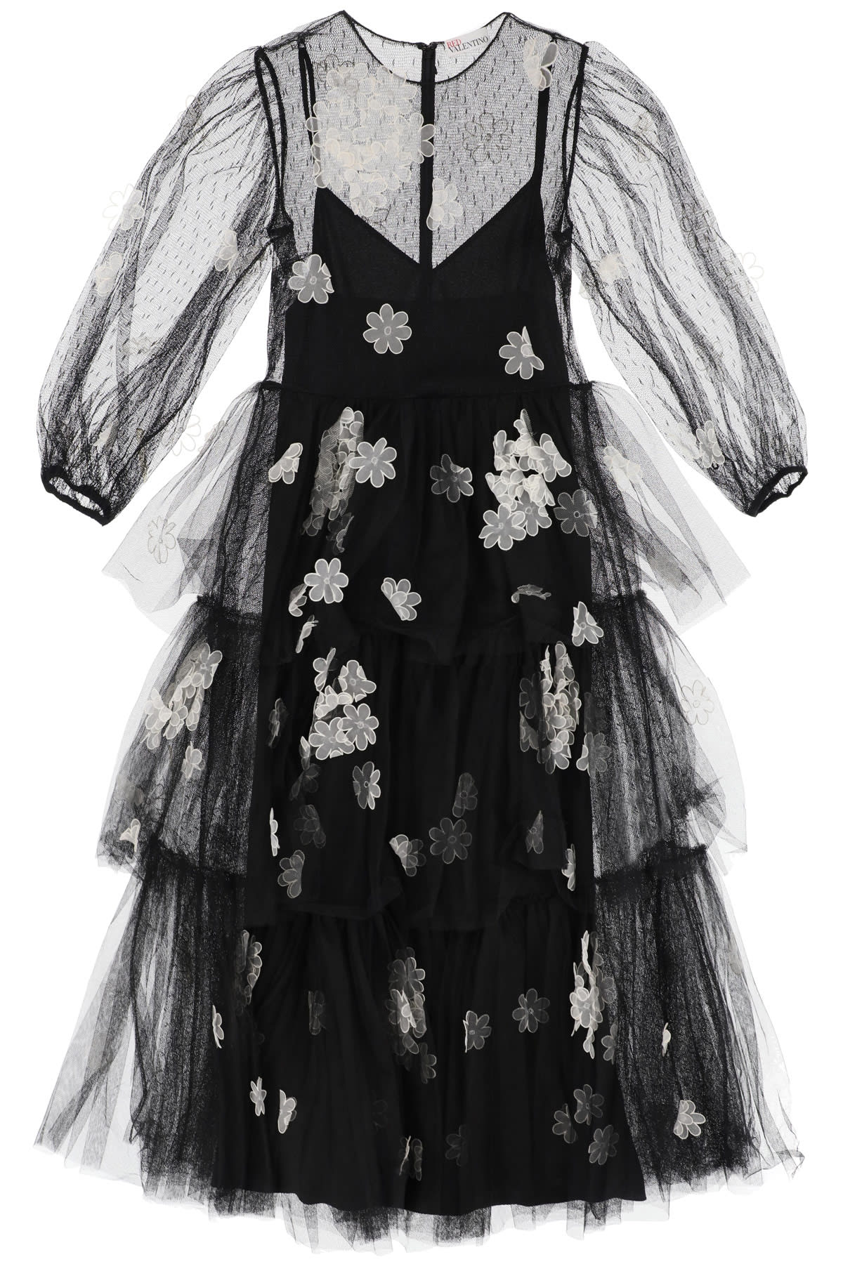 RED VALENTINO LONG TULLE DRESS WITH ORGANZA FLOWERS