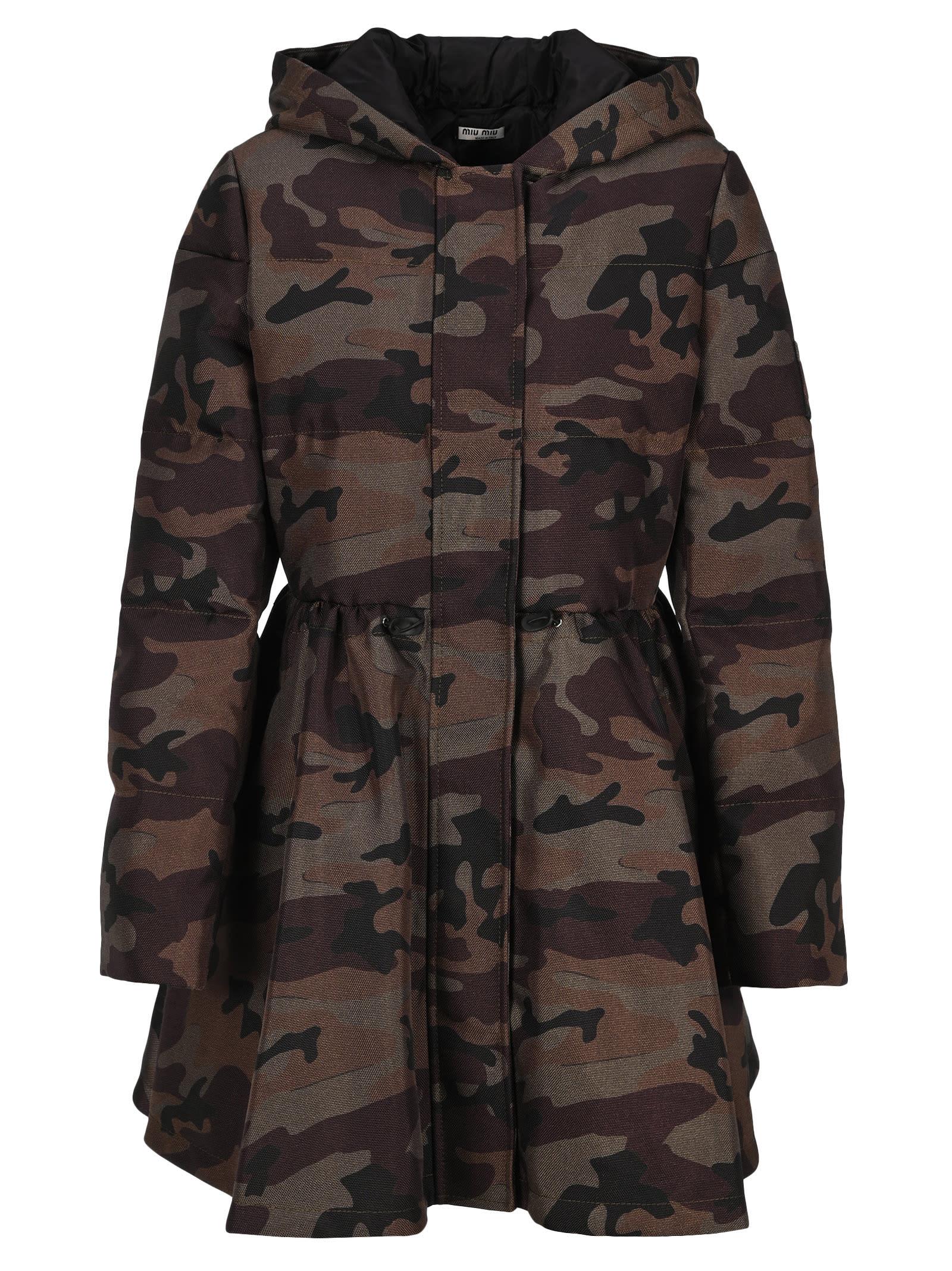 Miu Miu Padded Camouflage-print Coat