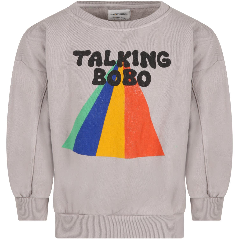 Grey Sweatshirt For Kids With Logo