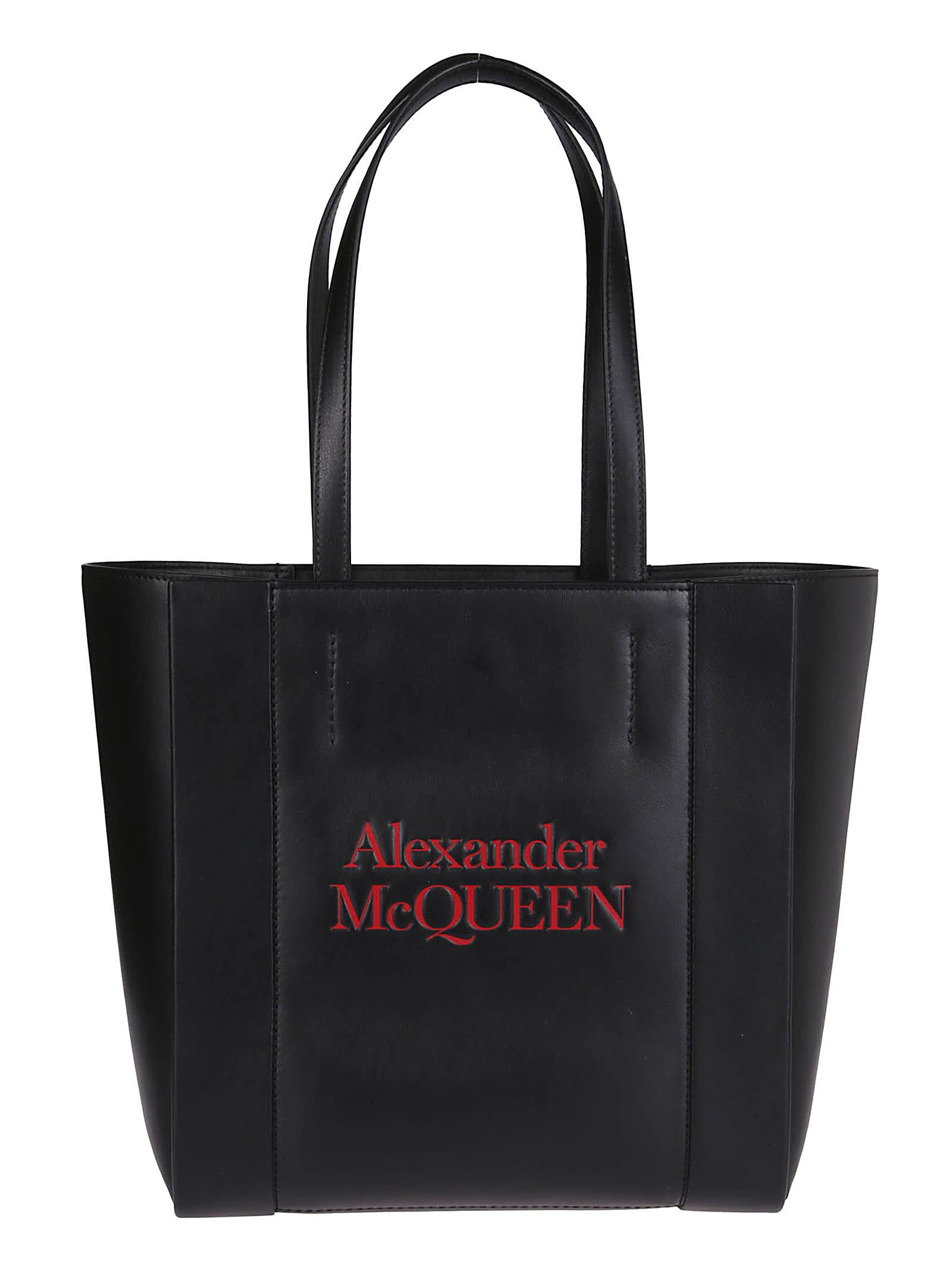 Alexander Mcqueen Black Signature Leather Tote Bag In Black Red