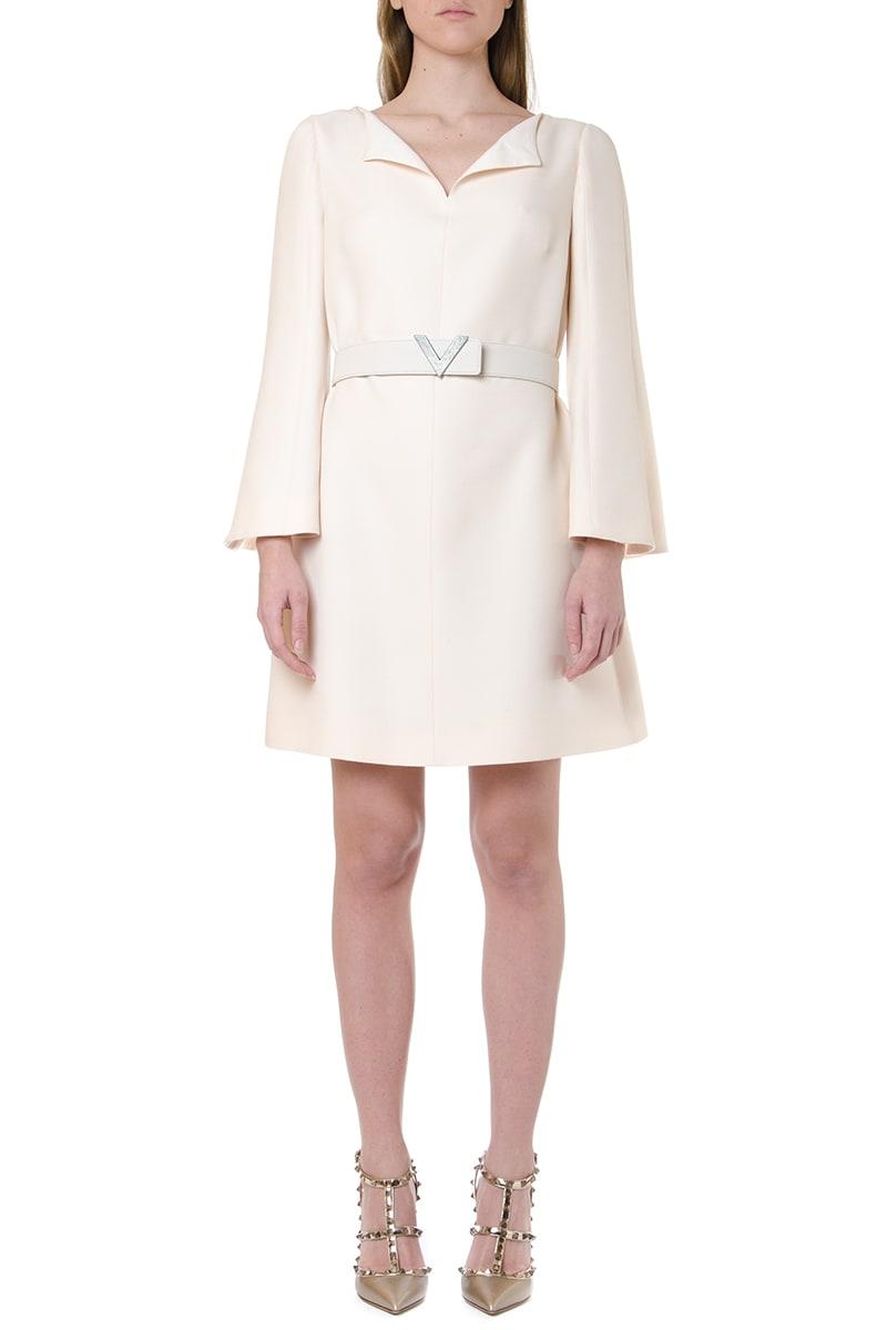 Valentino Crepe Couture Dress With V Pavé Belt