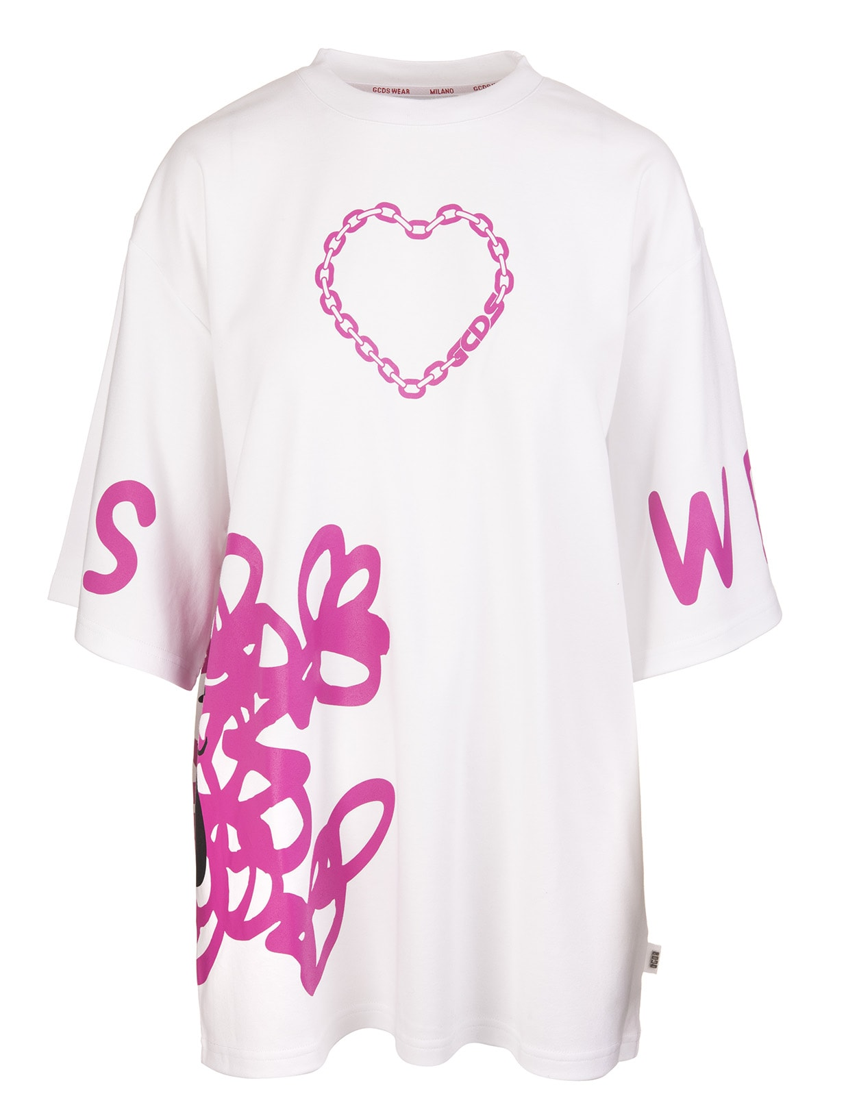 Gcds Cottons WHITE/HOT-PINK COTTON GRAPHIC-PRINT TWO-TONE T-SHIRT