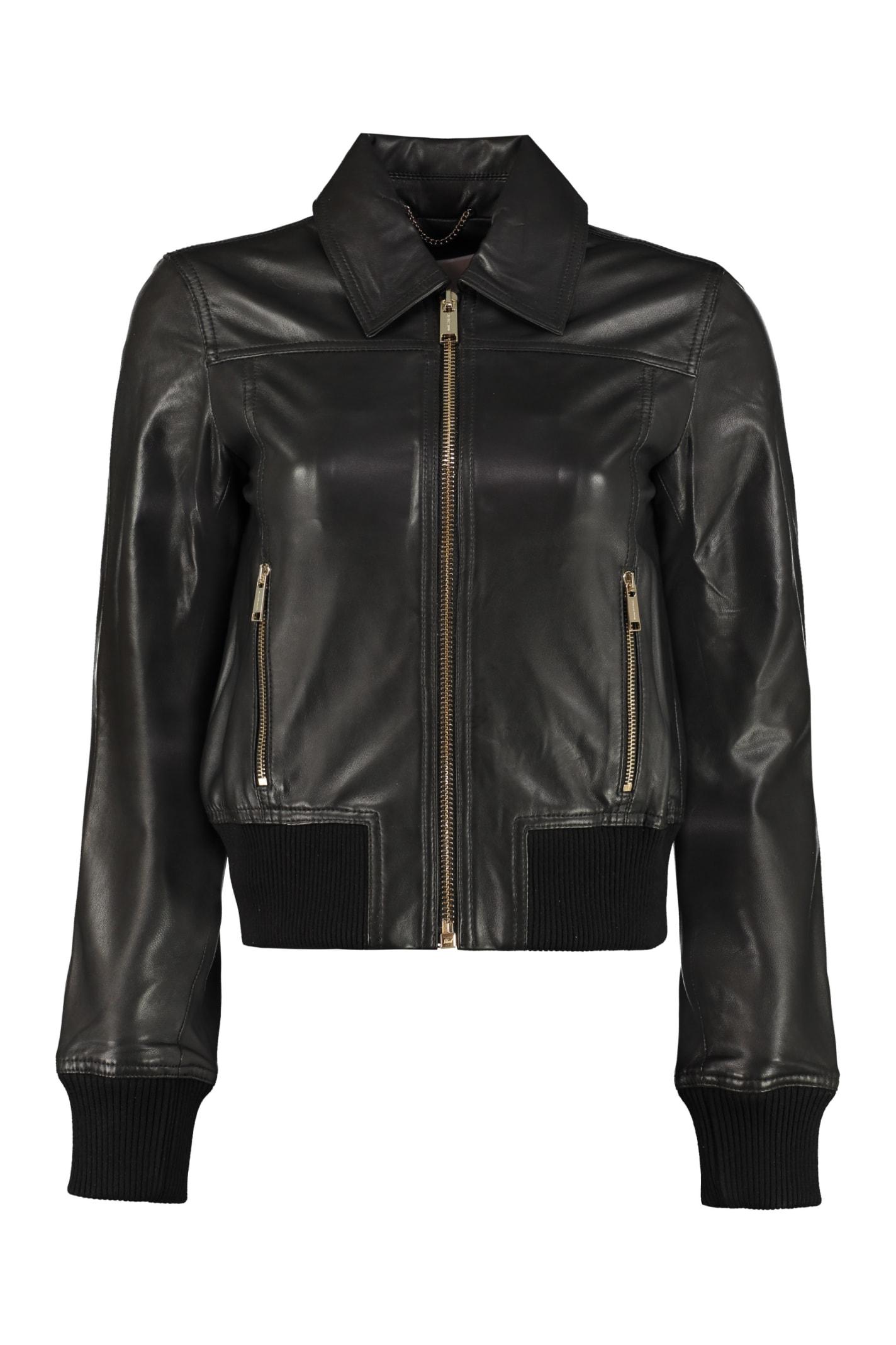 Michael Michael Kors Lambskin Jacket In Black