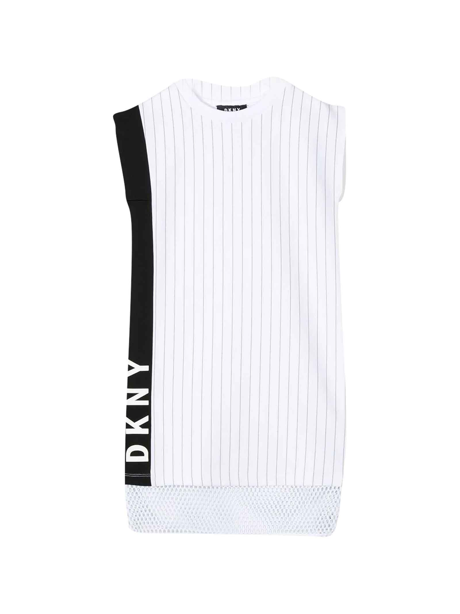 Buy DKNY White Teen Midi Striped Dress online, shop DKNY with free shipping