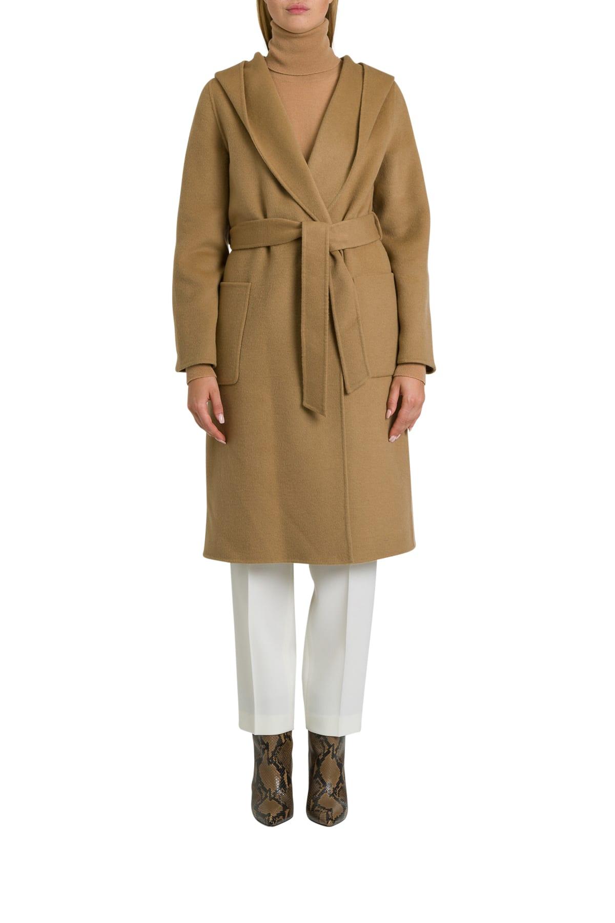 Parosh Lex Hooded Coat With Belt