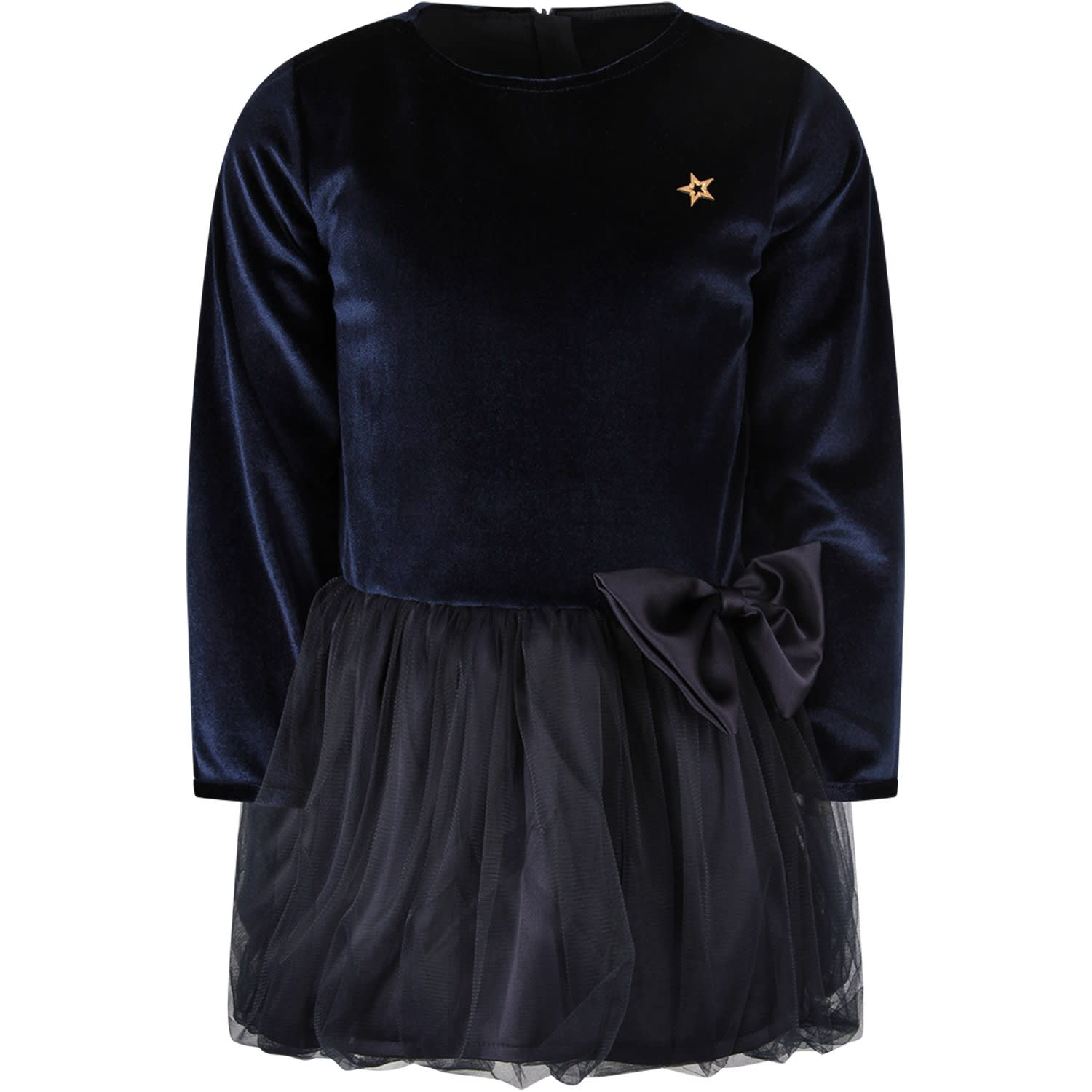 Blue Dress For Girl With Metallic Star And Bow