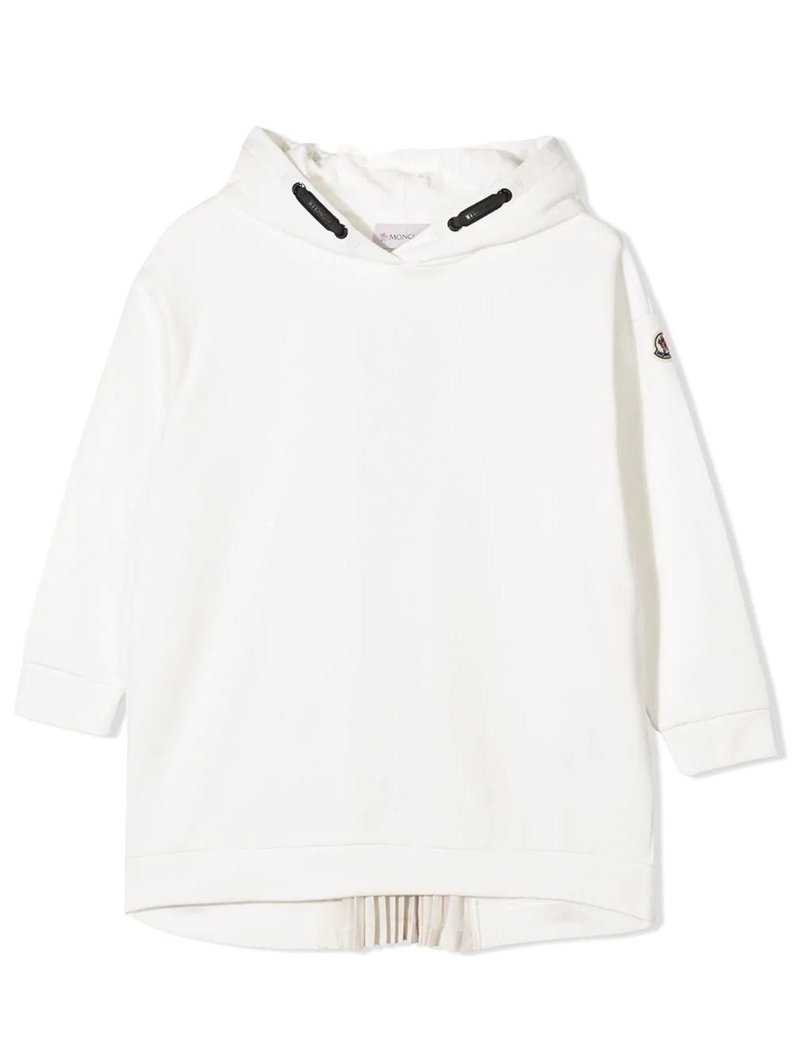 Buy Moncler White Cotton Sweatshirt Dress online, shop Moncler with free shipping