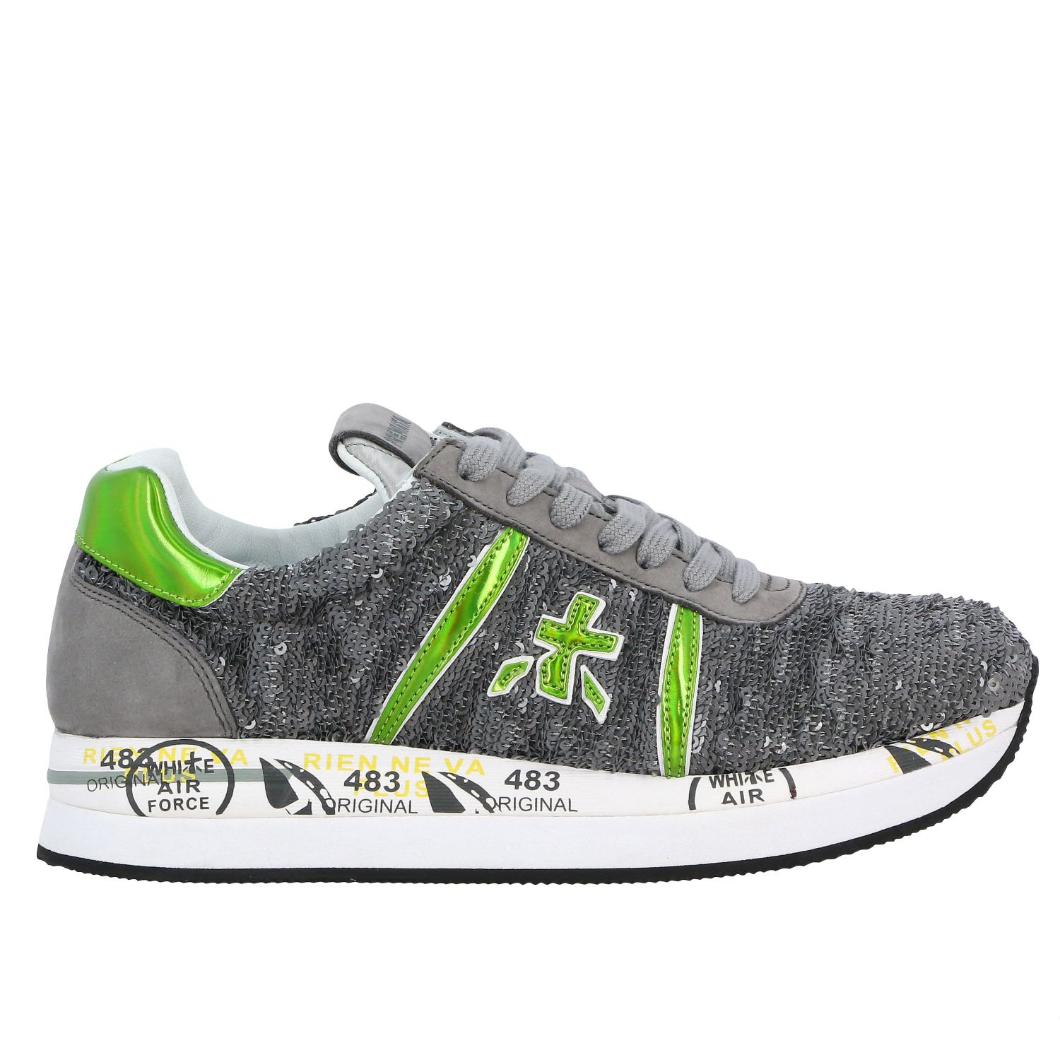 Premiata Sneakers Conny Premiata Sneakers In Suede And Writable Sequins With Logo