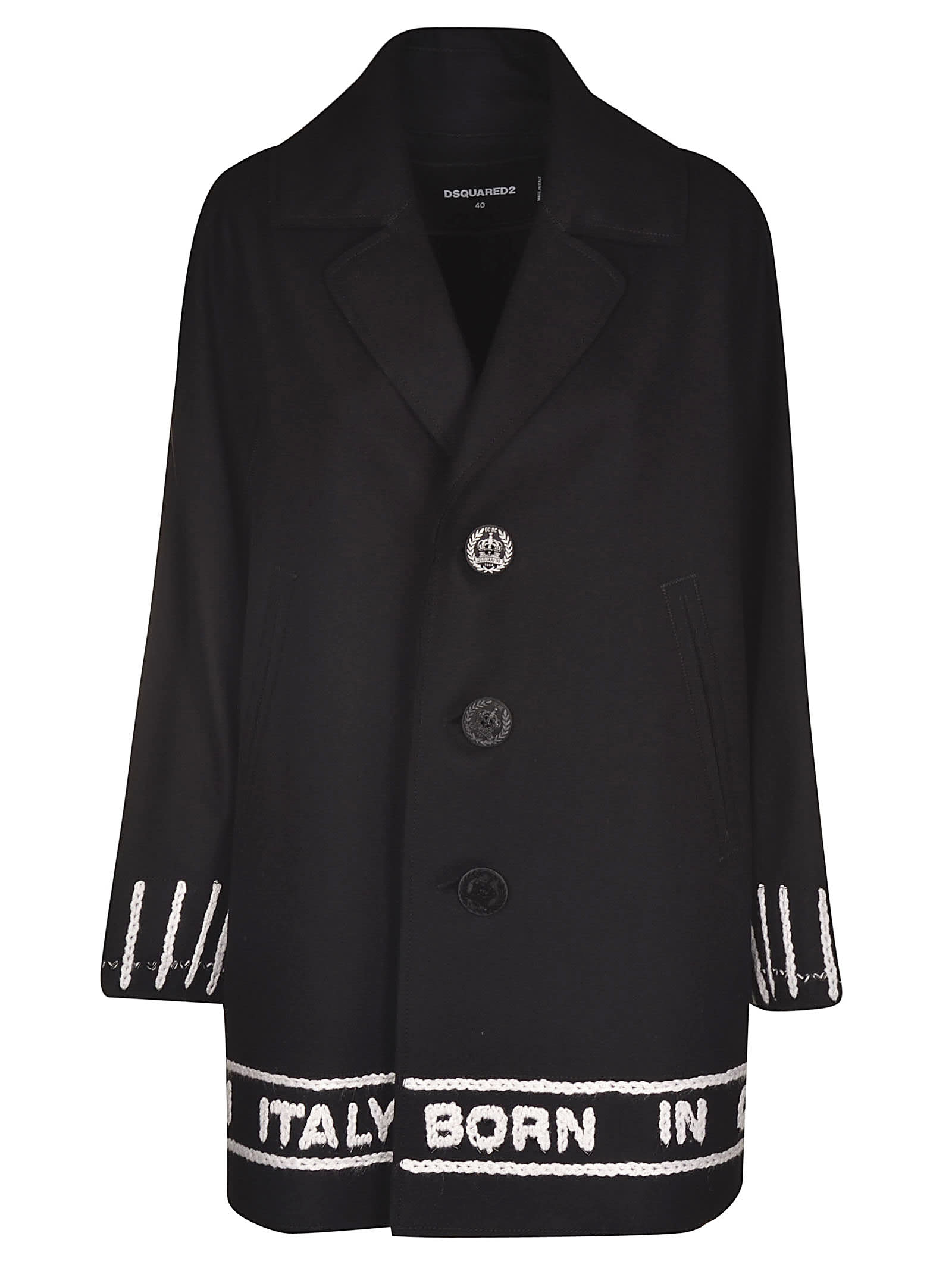 Dsquared2 Embroidered Buttoned Coat
