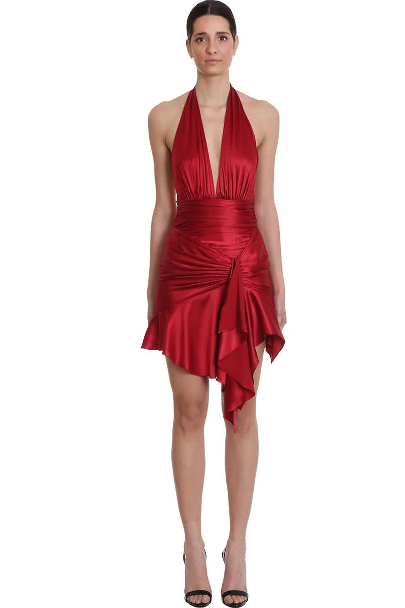 Buy Alexandre Vauthier Dress In Red Silk online, shop Alexandre Vauthier with free shipping