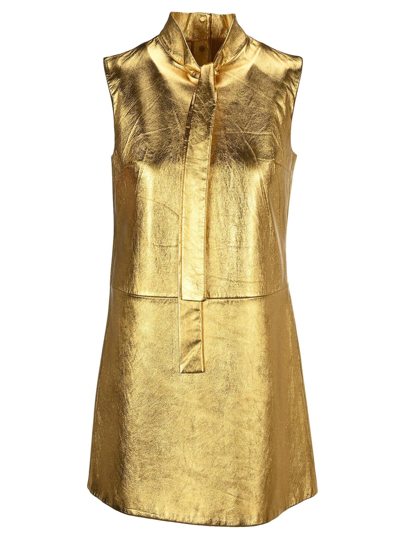 Buy Prada Laminated Nappa Leather Dress online, shop Prada with free shipping