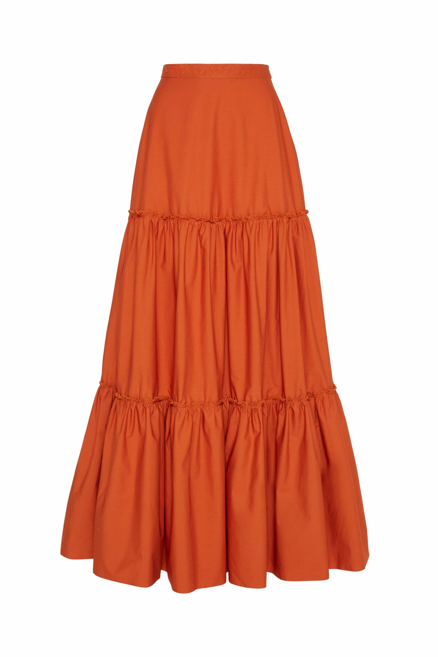 Charlotte Long Skirt In Orange Poplin