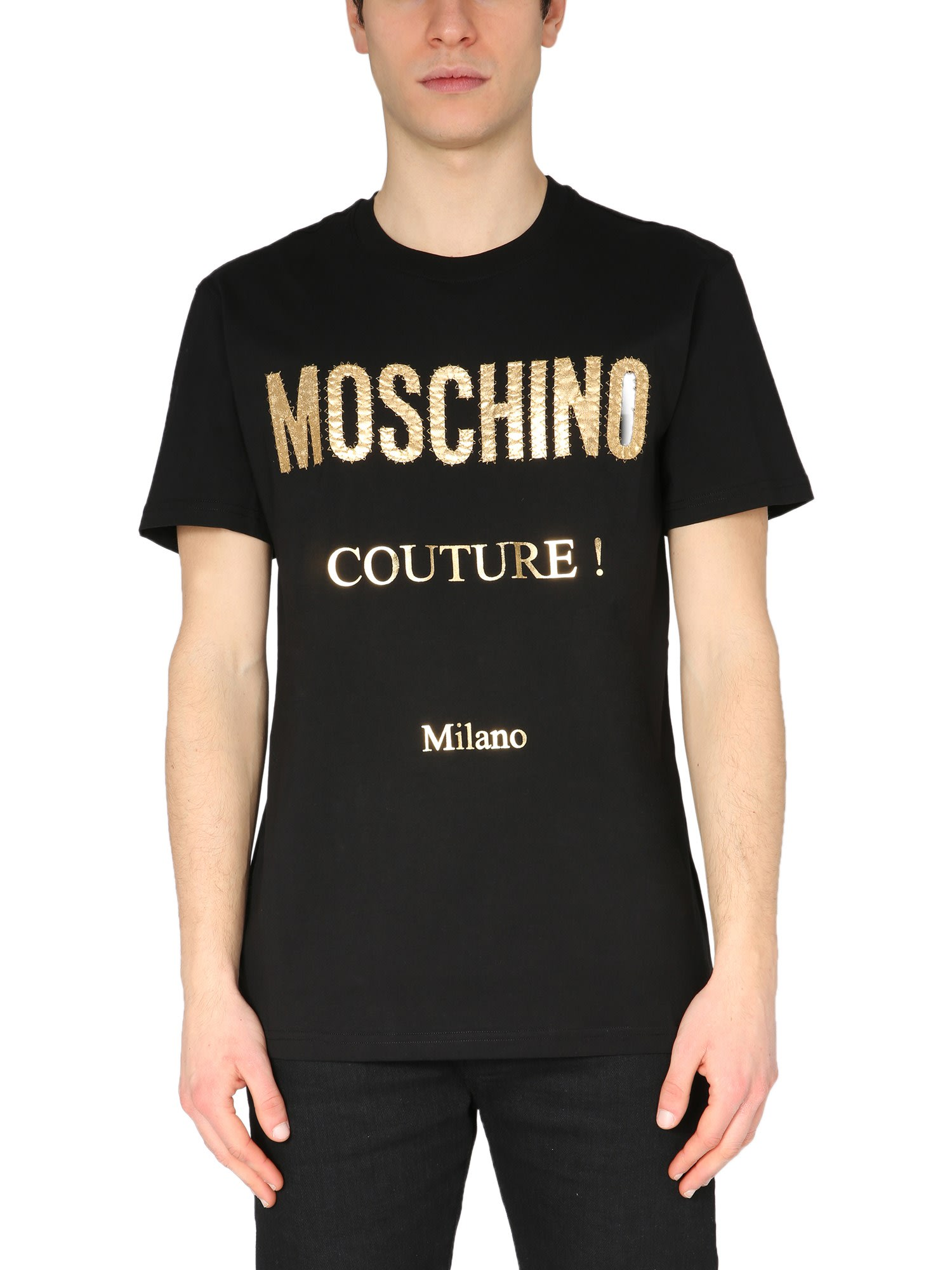 Moschino Cottons T-SHIRT WITH LAMINATED PRINT