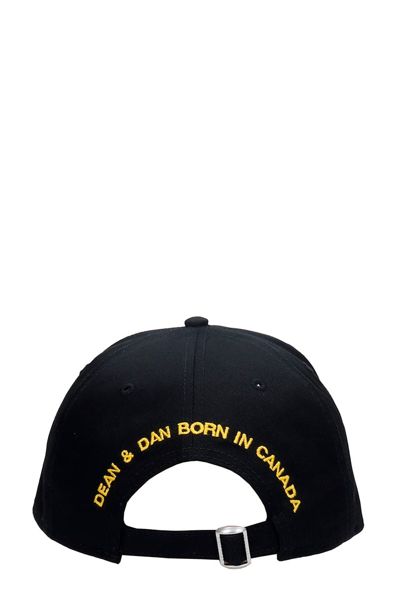 Fashion Style Dsquared2 Hats In Black Cotton And Nylon