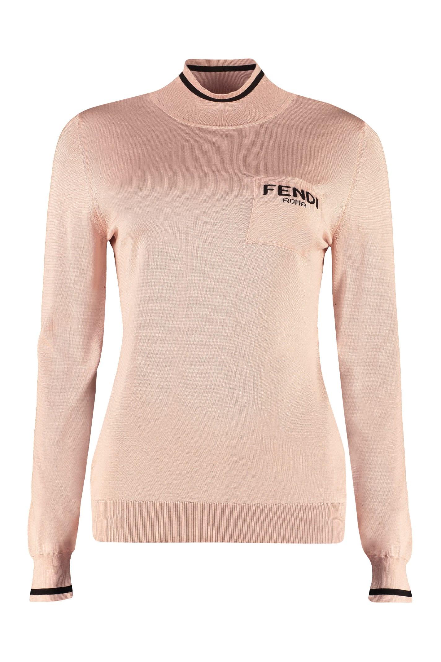 Fendi Long Sleeve Turtleneck In Pink