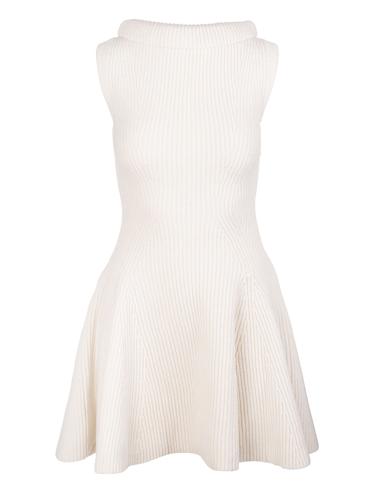 Ivory Short Dress In Ribbed Knit