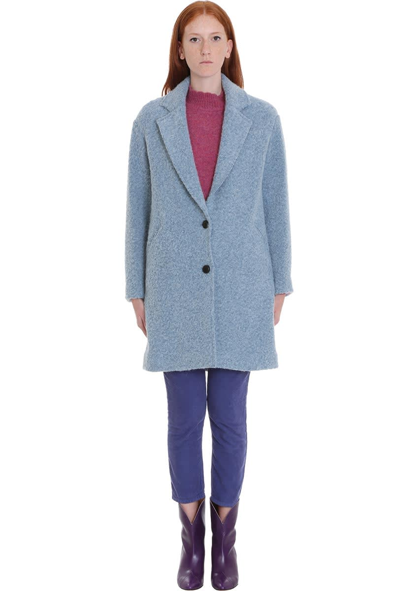 Isabel Marant Étoile Dante Coat In Blue Wool