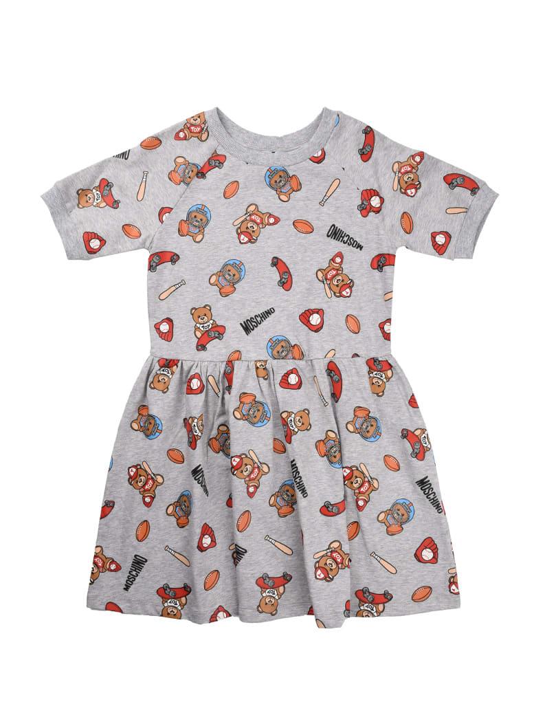 Buy Moschino Baseball Bear Gray Fleece Dress online, shop Moschino with free shipping