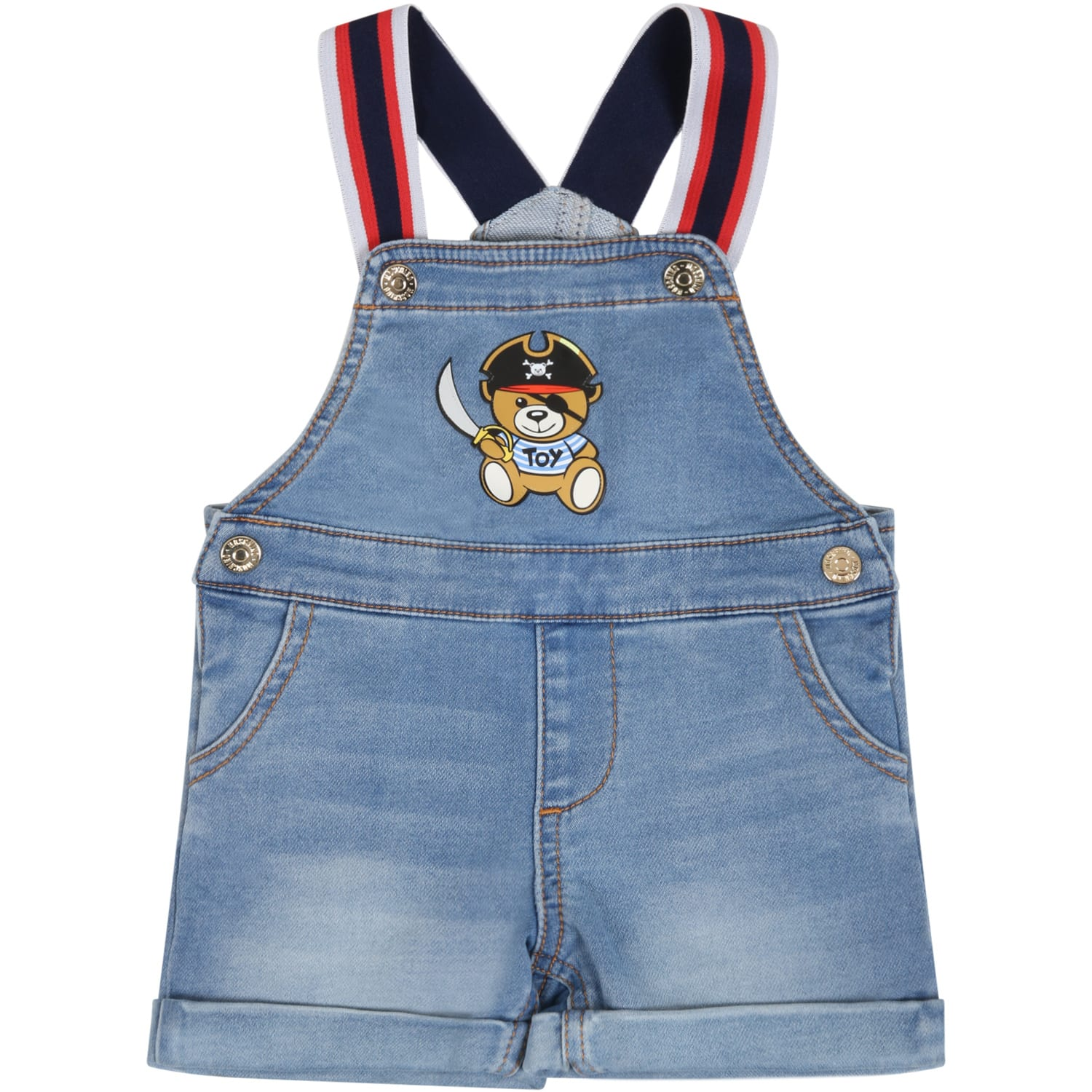 Moschino LIGHT BLUE DUNGAREES FOR BABYKIDS