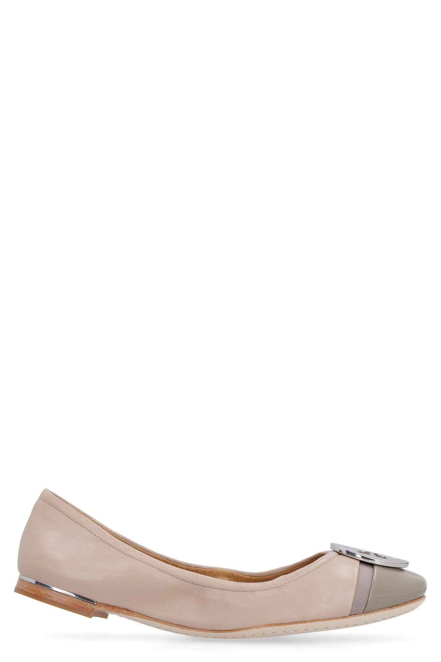Tory Burch Minnie Leather Ballet Flats With Logo