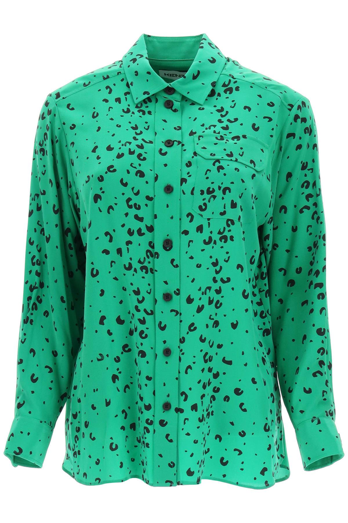Kenzo Cheetah Print Silk Shirt