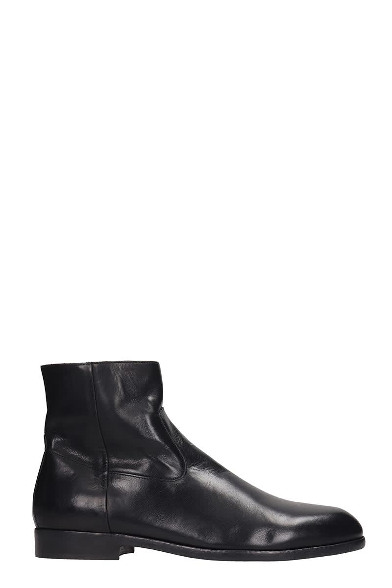 Buttero High Heels Ankle Boots In Black Leather