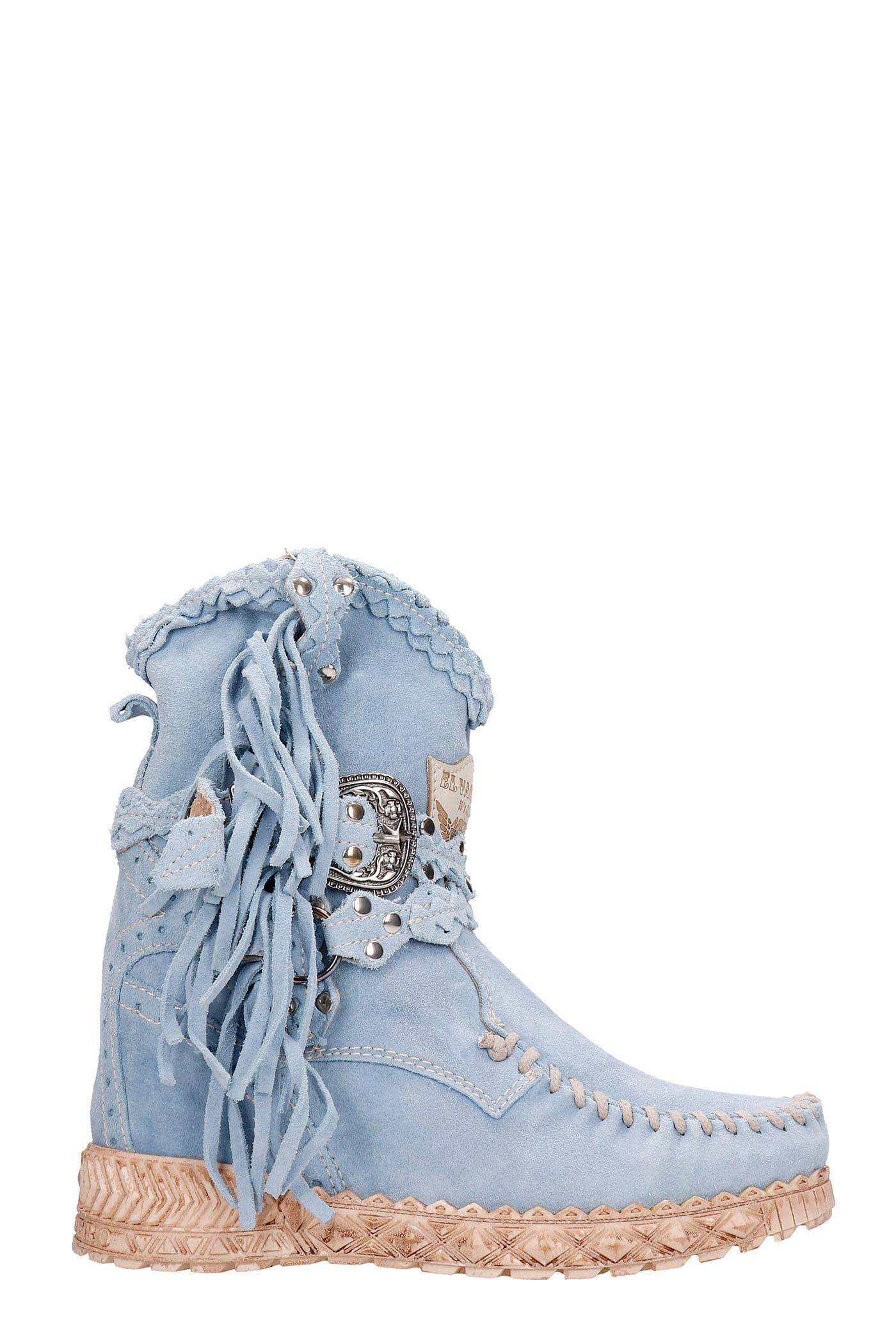 Arya Ankel Boots Inside Wedge In Cyan Suede