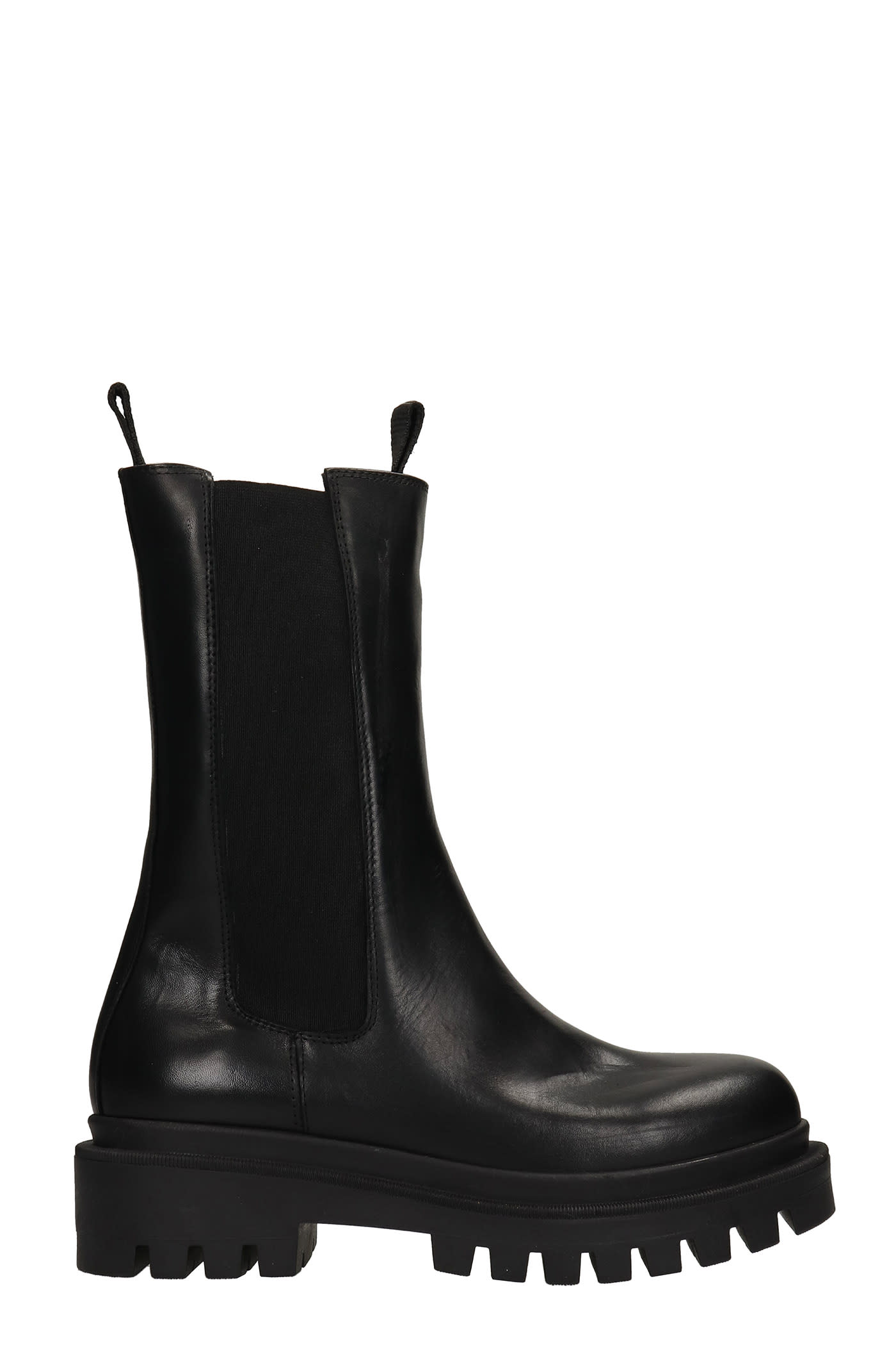 Combat Boots In Black Leather