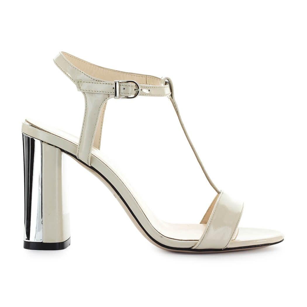 Ivory Patent Silver Sandal