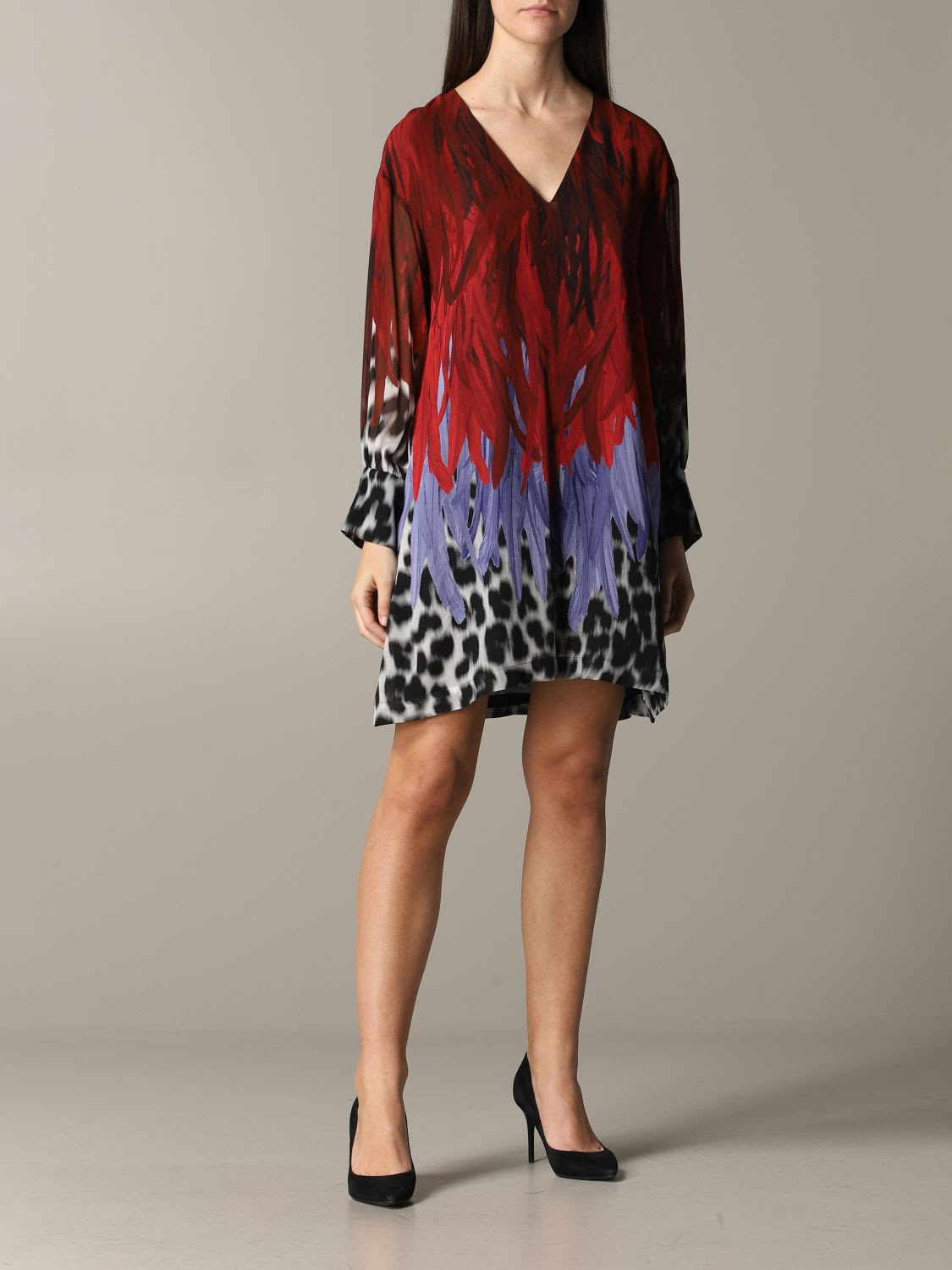 Buy Just Cavalli Dress Just Cavalli Dress With Animal Print And Feathers online, shop Just Cavalli with free shipping