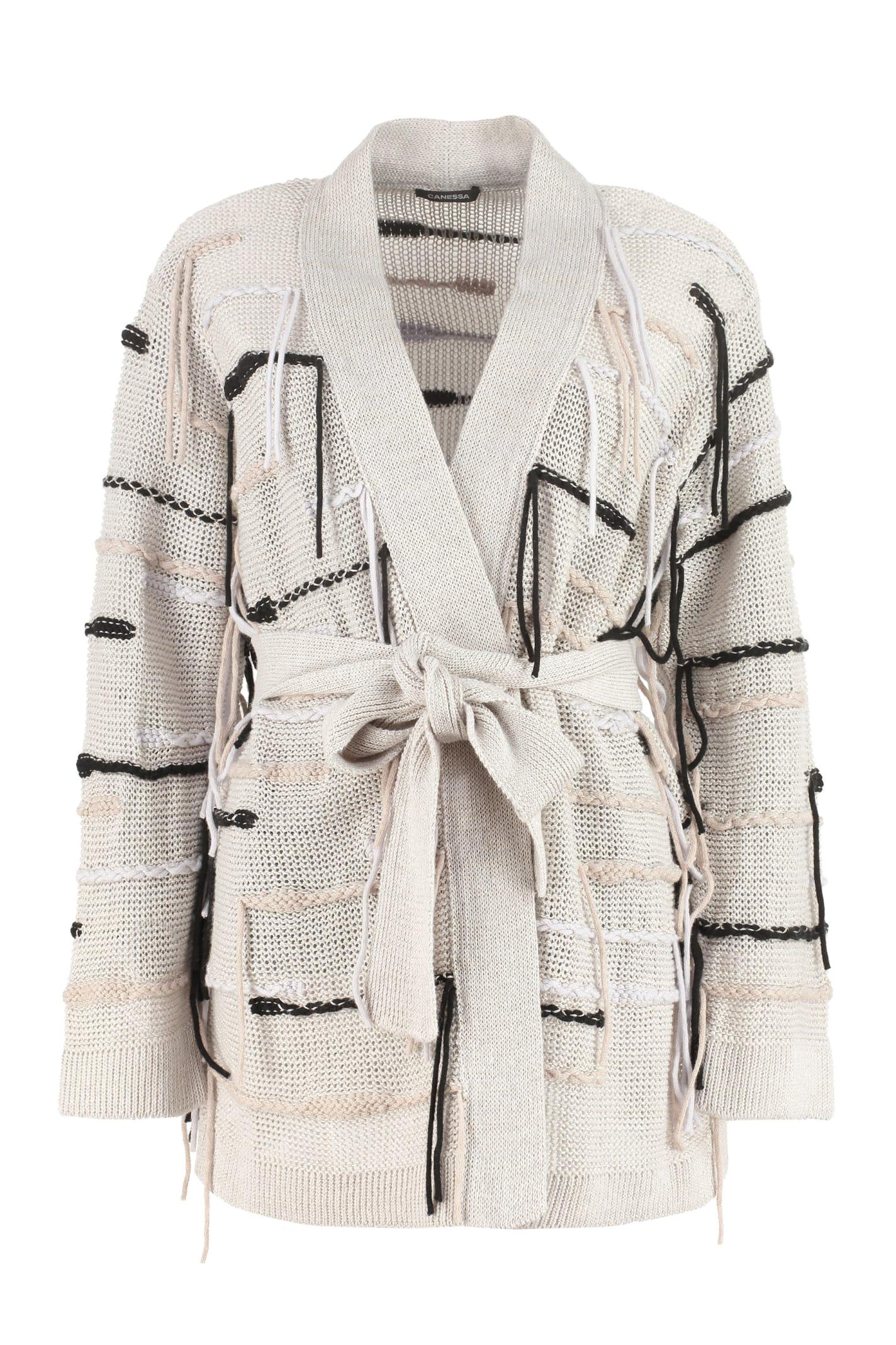 Fringed Linen-blend Cardigan
