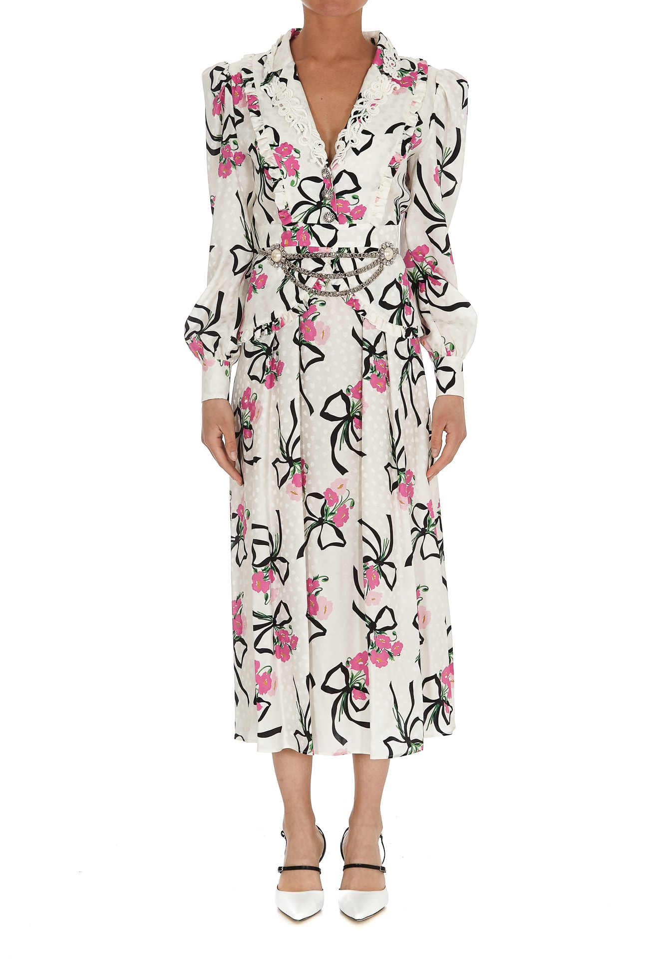 Alessandra Rich Silks FLOWER BOUQUET SILK PRINT DRESS