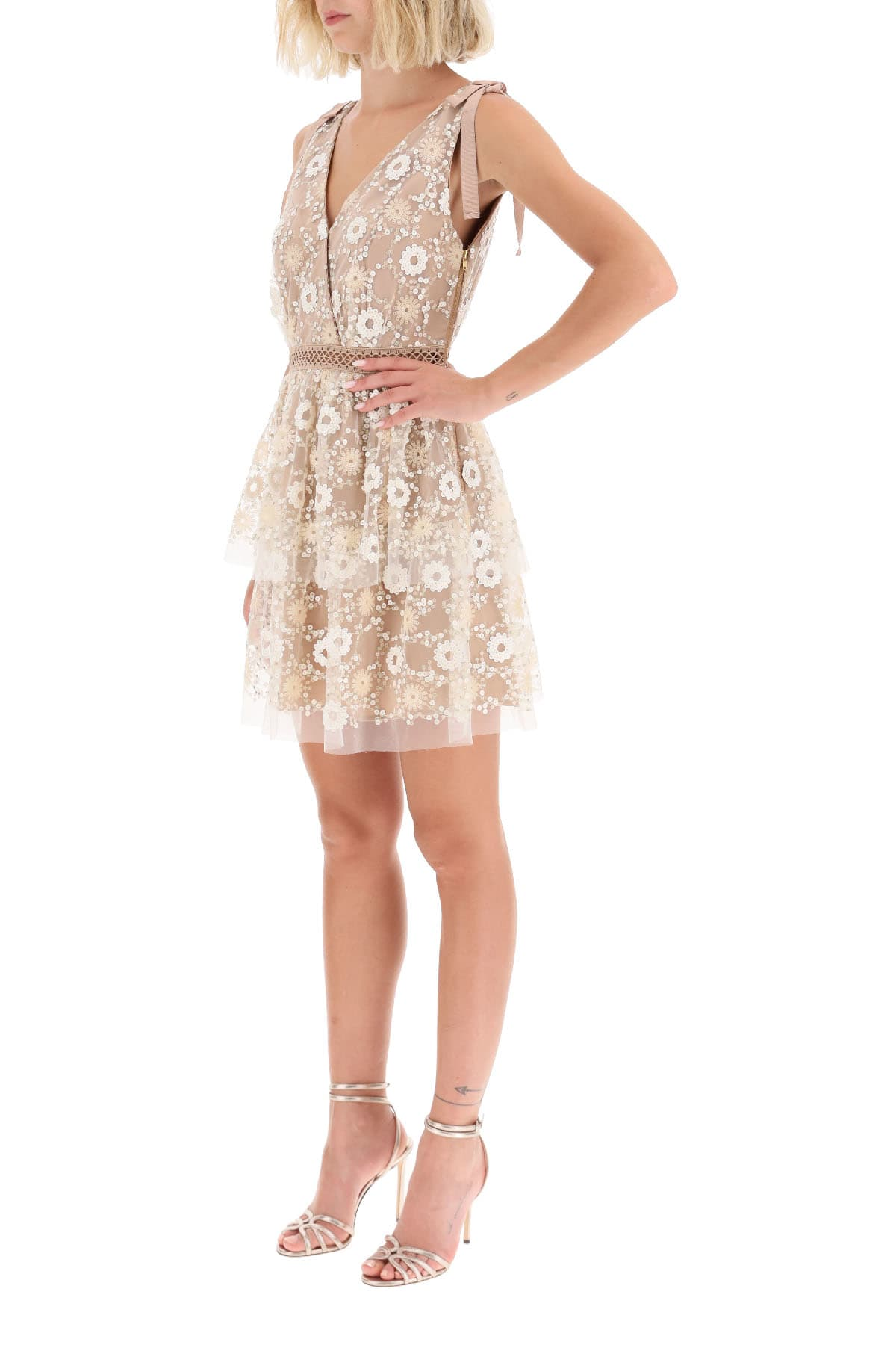 self-portrait Mini Dress With Sequin Flowers