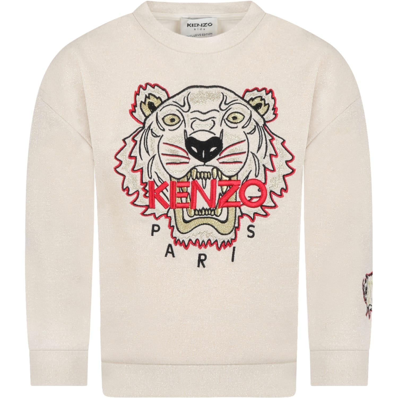 Beige Sweatshirt For Girl With Tiger