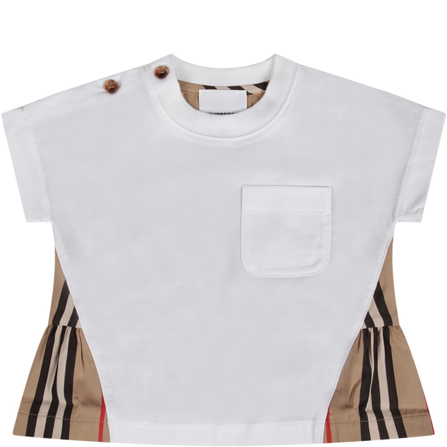 Burberry Kids' White Babygirl T-shirt With Iconic Stripes In Bianco