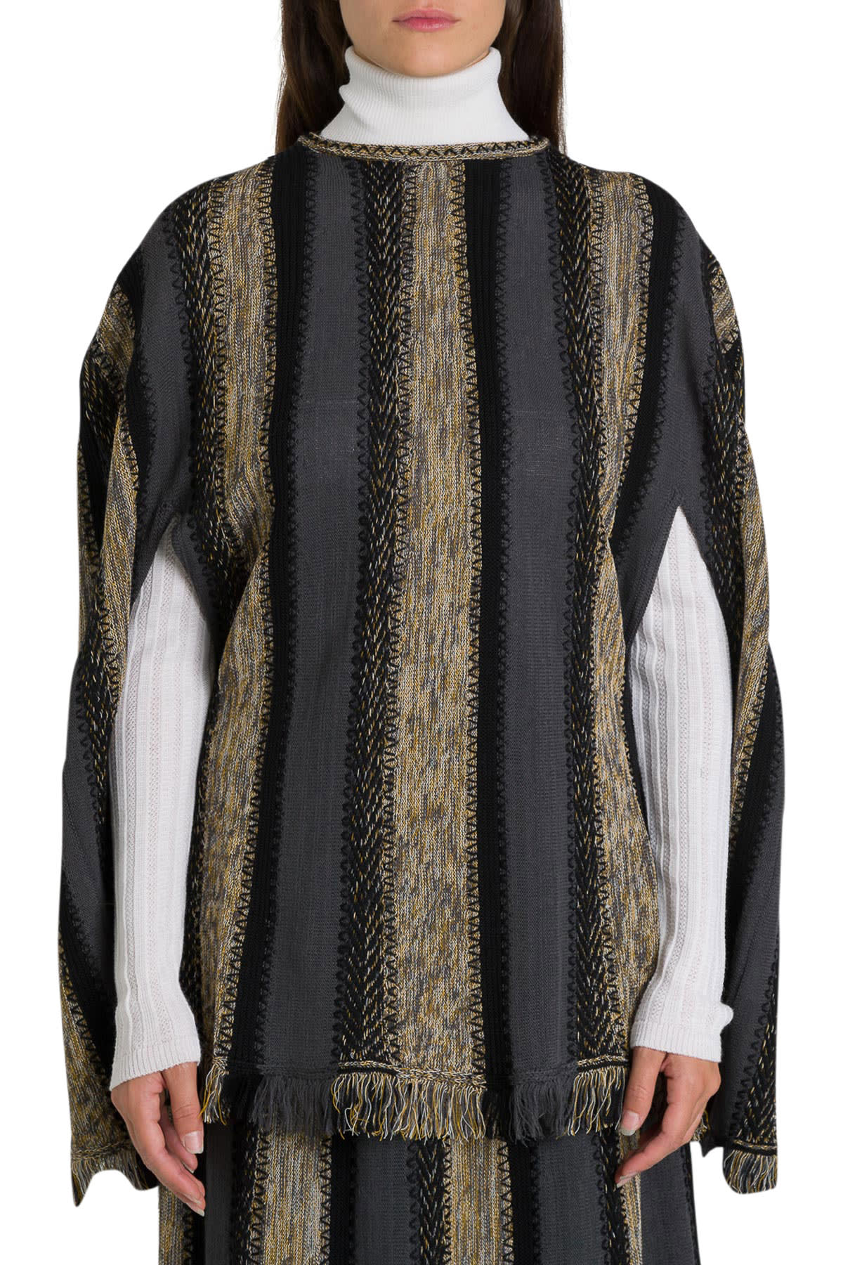 M Missoni Knitted Cape With Fringe To The Bottom