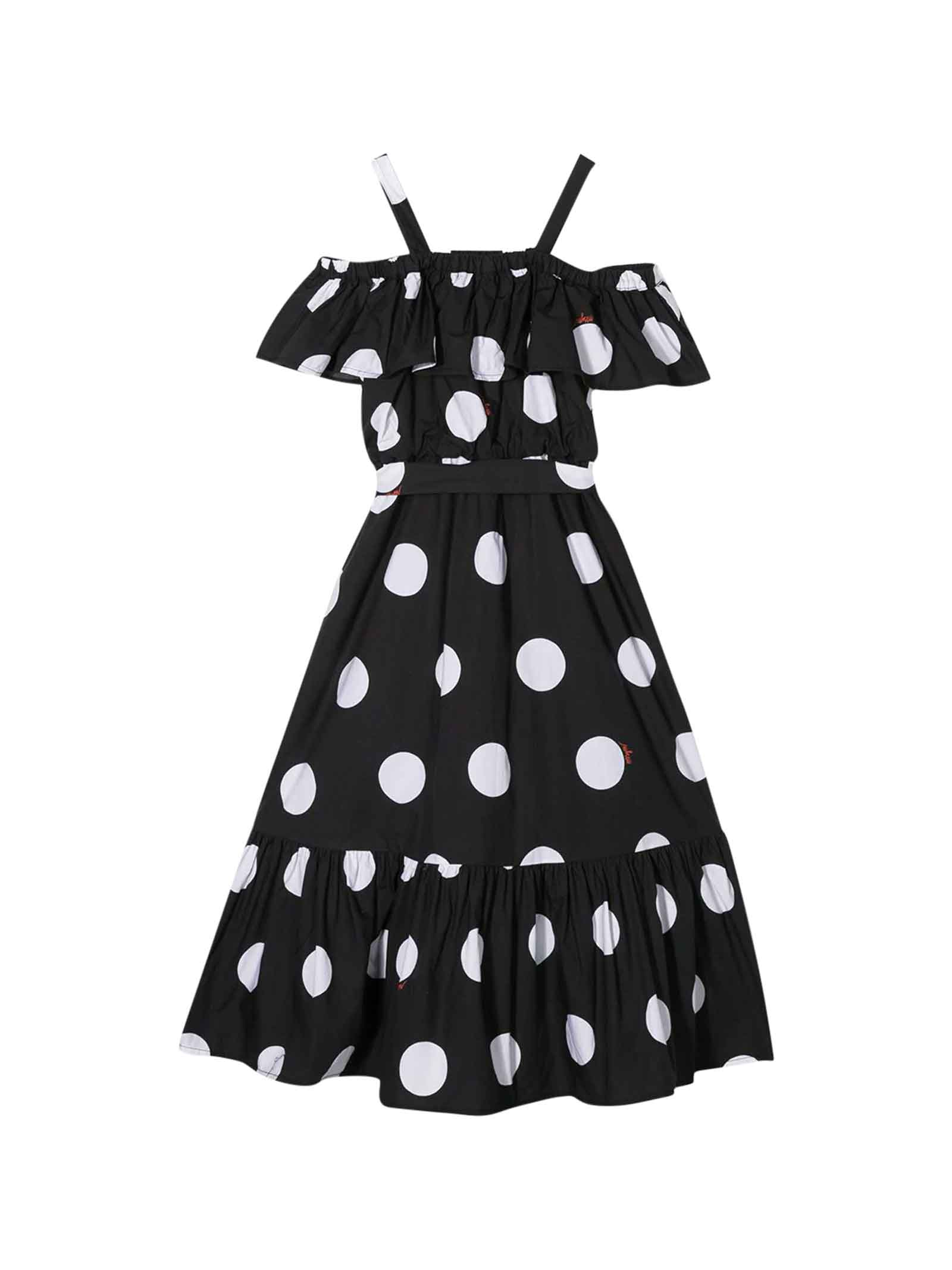 Buy MSGM Black Dress With White Polka Dots online, shop MSGM with free shipping