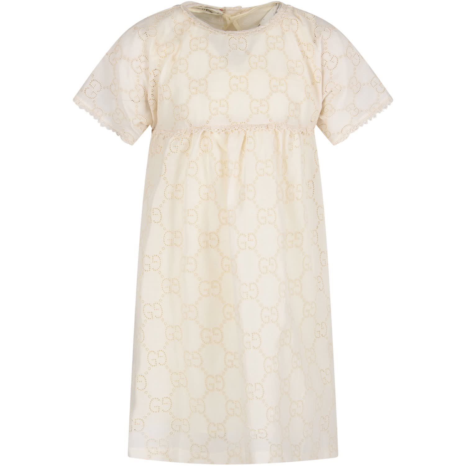 Buy Gucci Ivory Girl Dress With Double Gg online, shop Gucci with free shipping