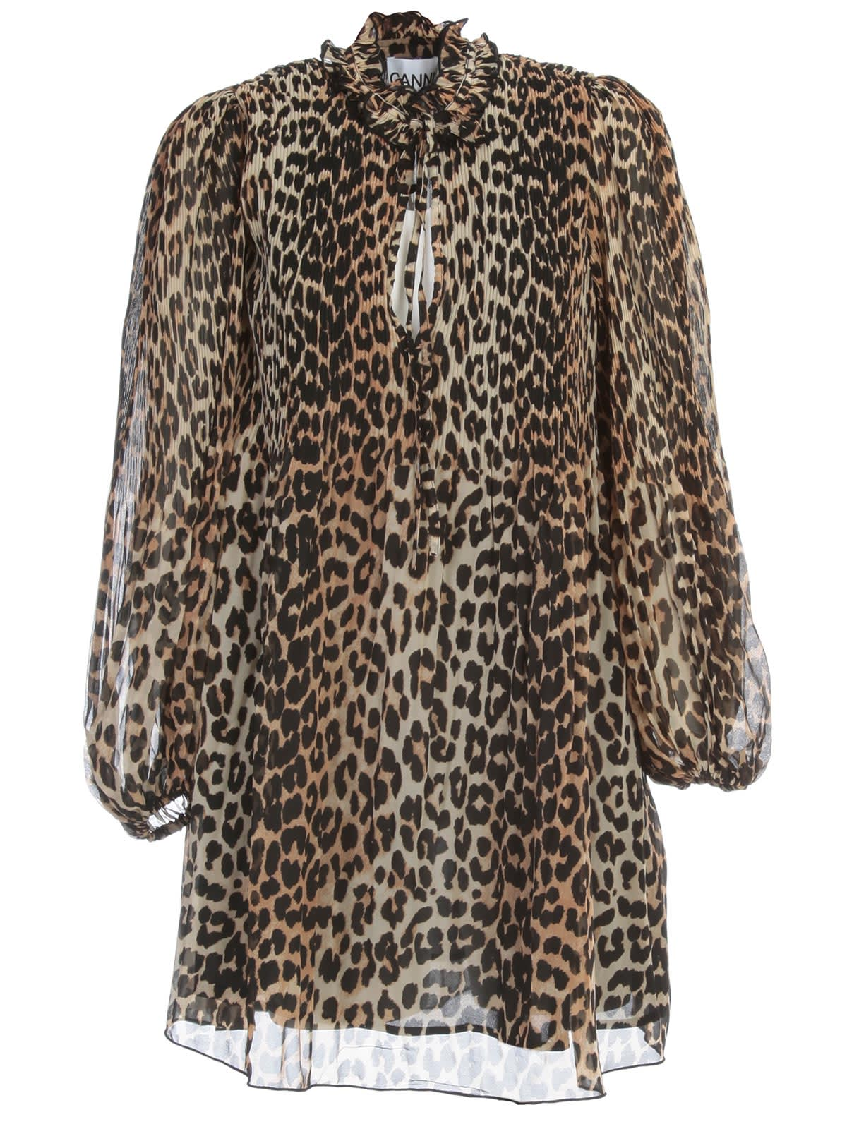 Ganni Pleated Georgette Coat Leopard Printing