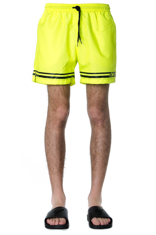 GCDS Fluo Yellow Gcds Logo Striped Swimshorts