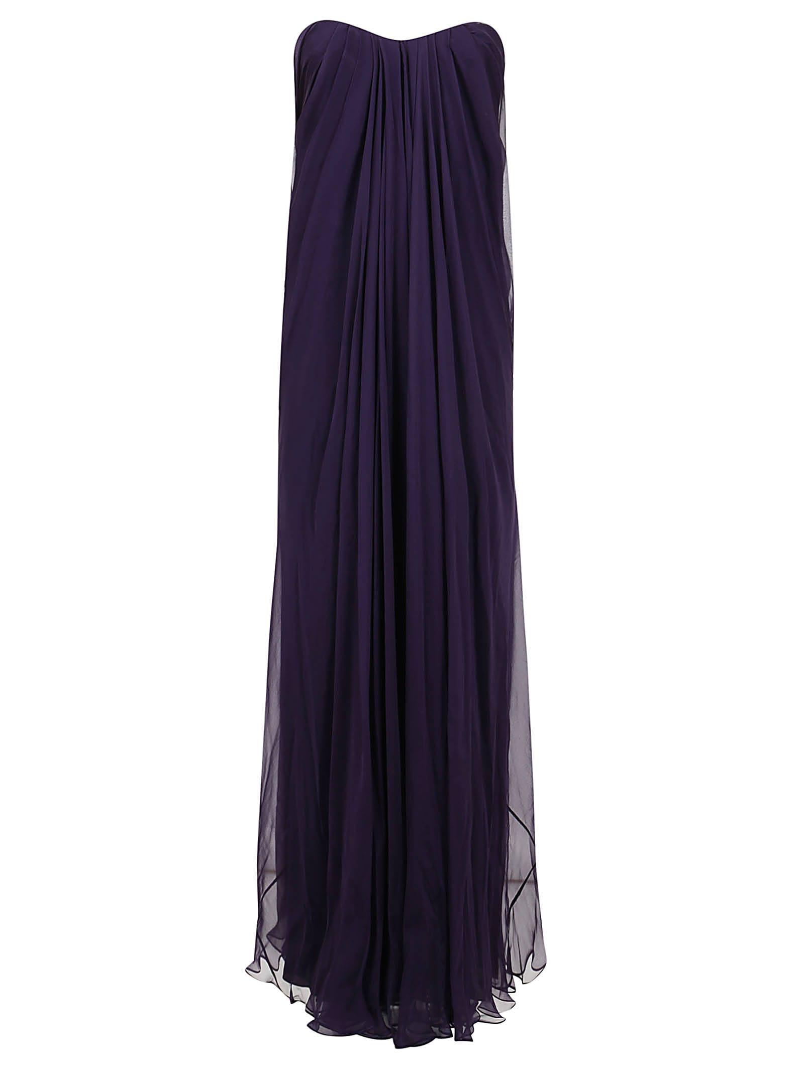 Alexander McQueen Draped Bustier Long Dress